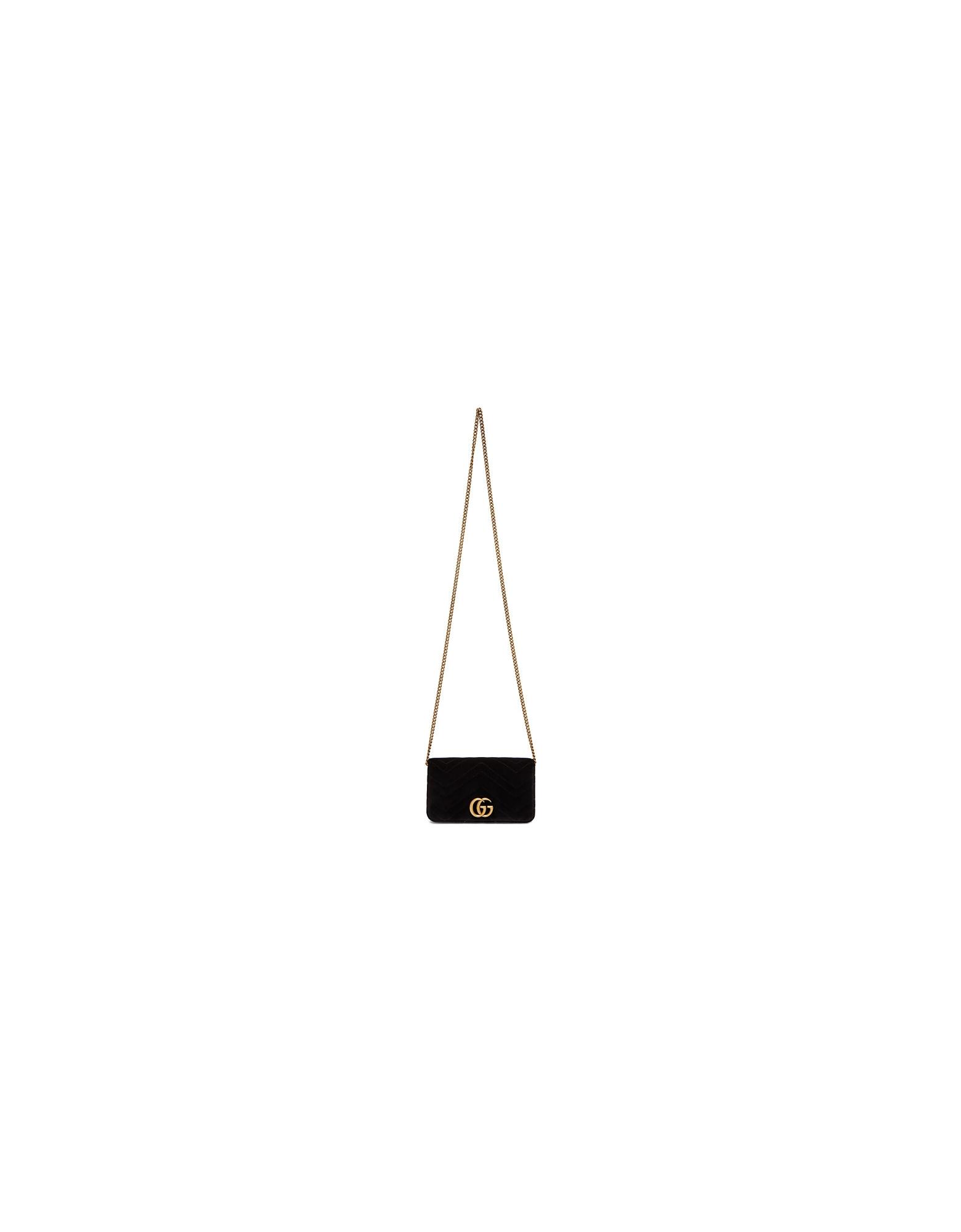 Gucci Designer Handbags, Black Velvet Mini Marmont 2.0 Bag