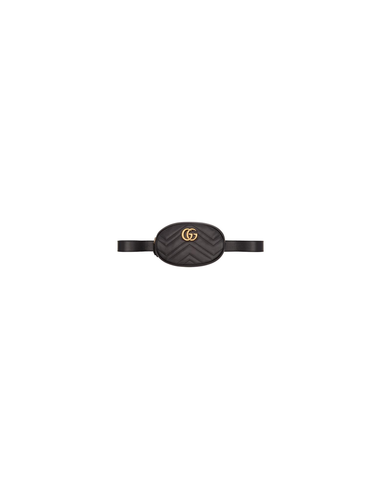 Gucci Designer Handbags, Black GG Marmont 2.0 Belt Bag