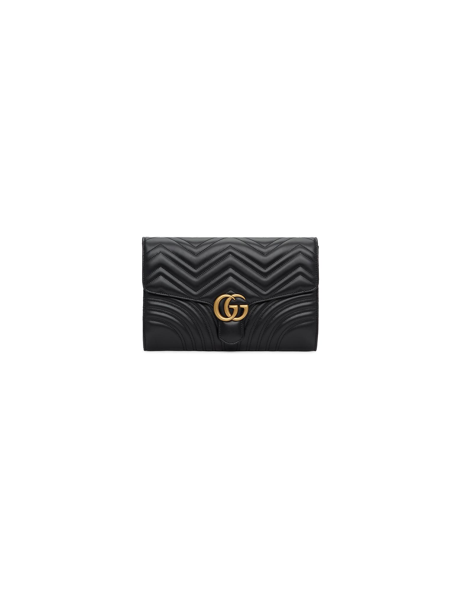 Gucci Designer Handbags, Black Medium GG Marmont 2.0 Clutch