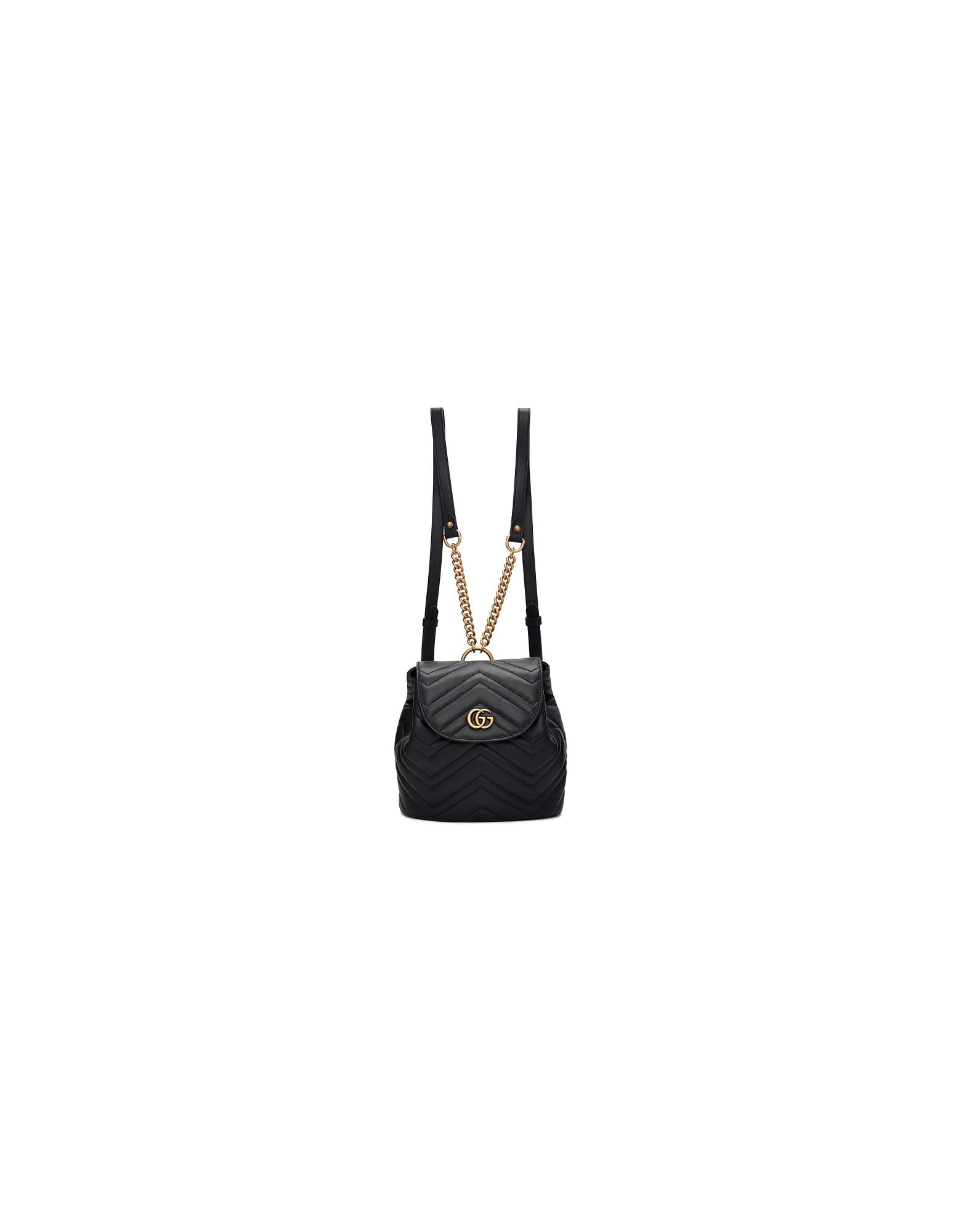 Gucci Designer Handbags, Black Mini GG Marmont 2.0 Backpack