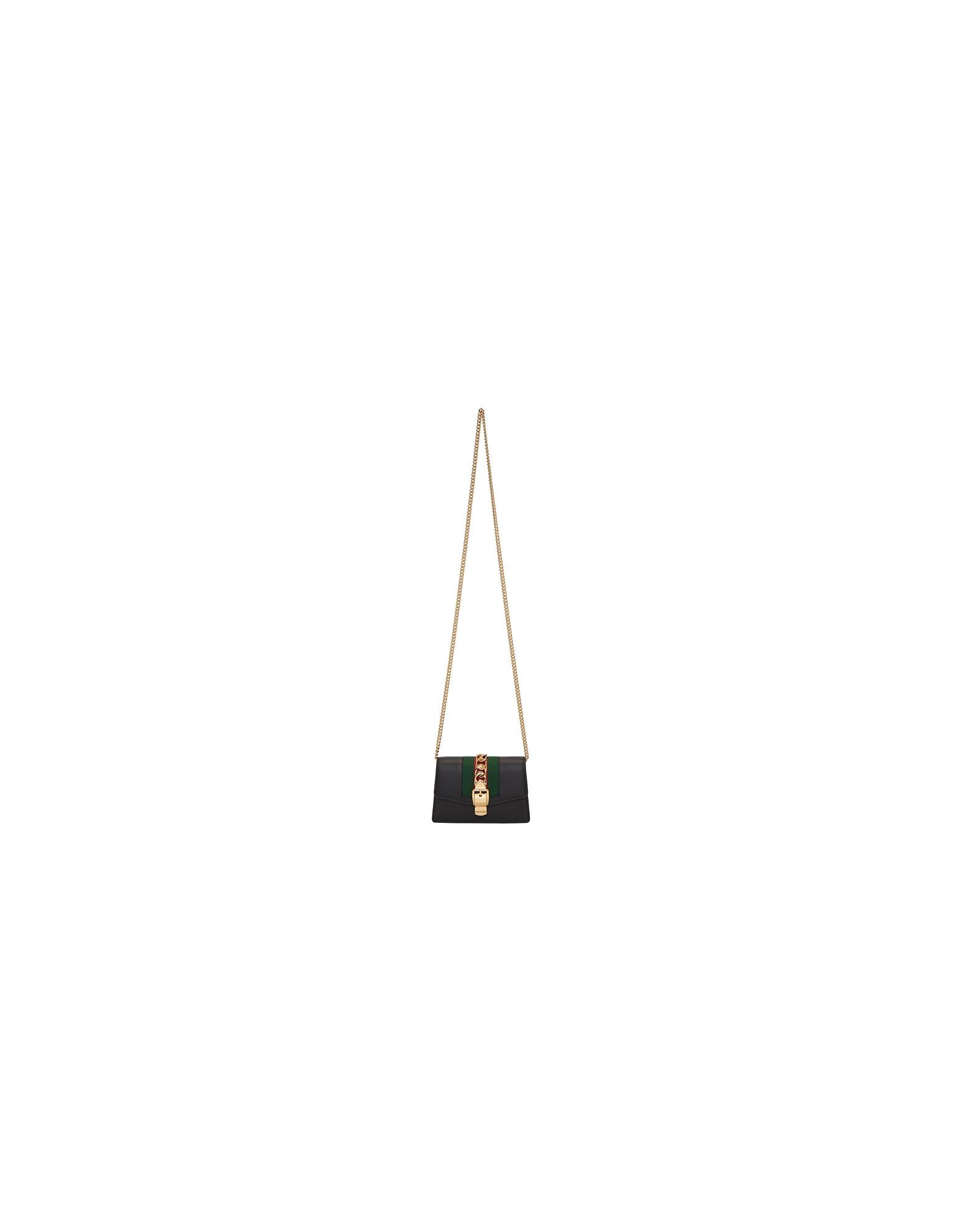 Gucci Designer Handbags, Black Mini Sylvie Bag