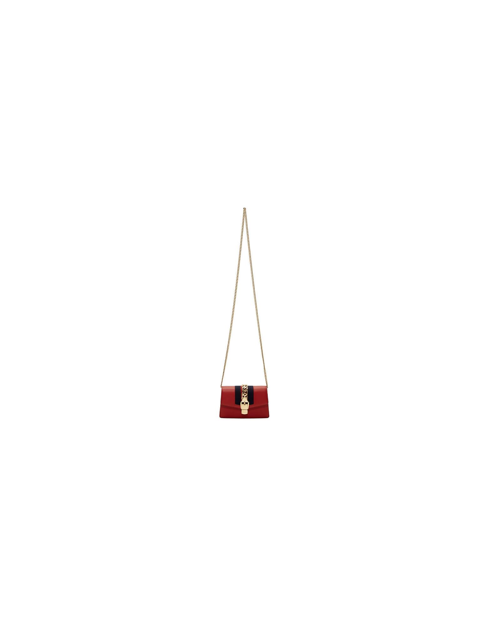 Gucci Designer Handbags, Red Mini Sylvie Chain Bag