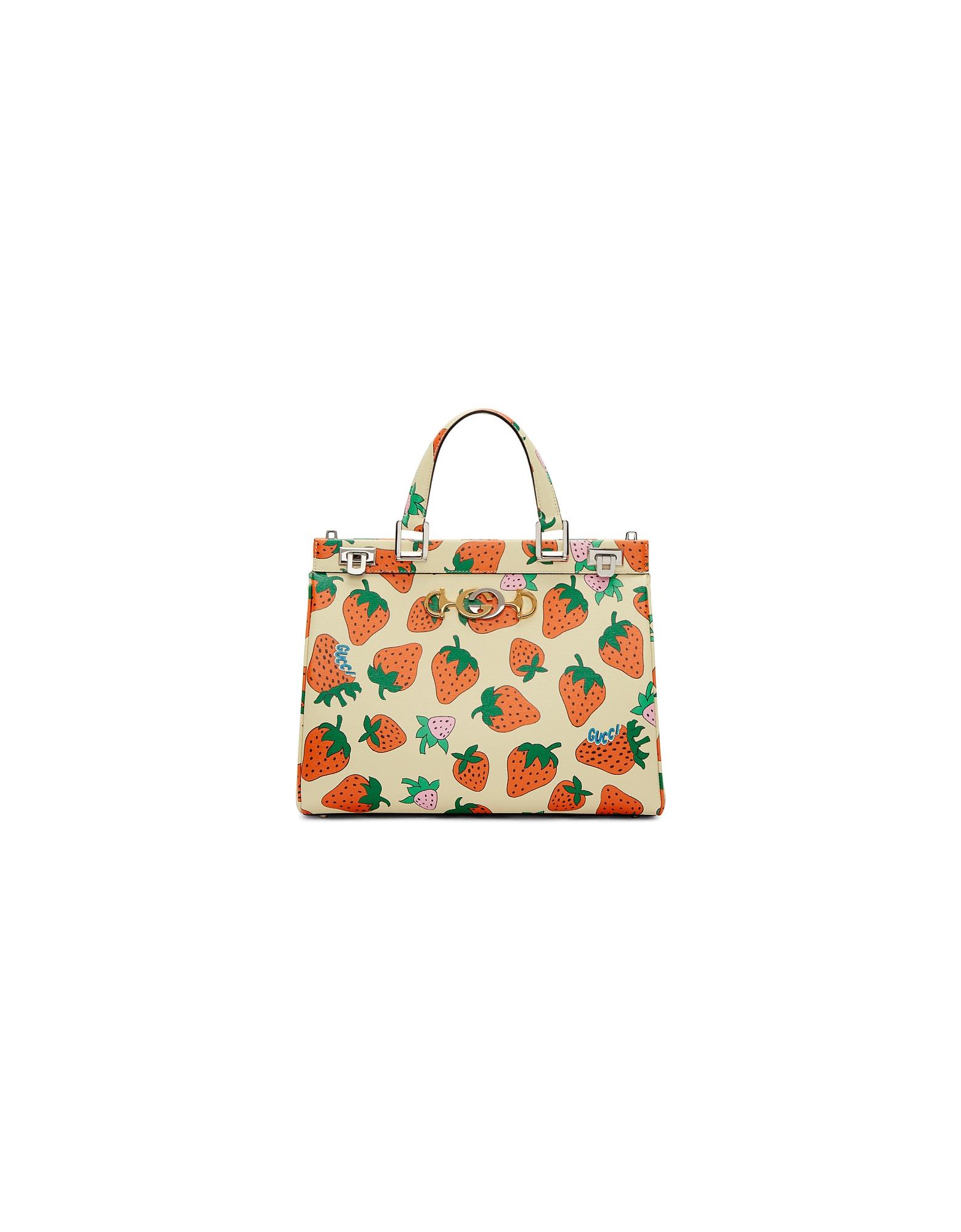 Gucci Designer Handbags, Off-White Medium Zumi Strawberry Top Handle Bag