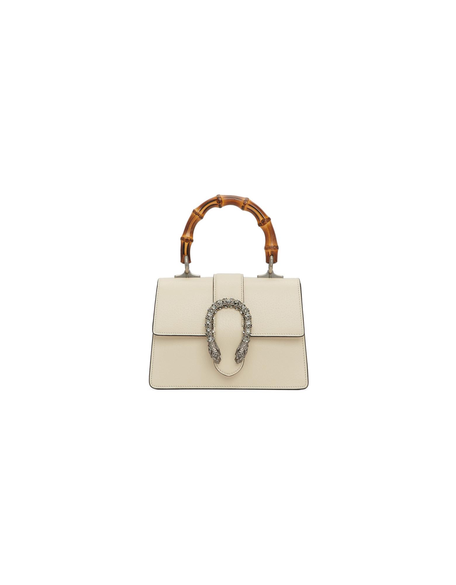 Gucci Designer Handbags, White Mini Dionysus Top Handle Bag
