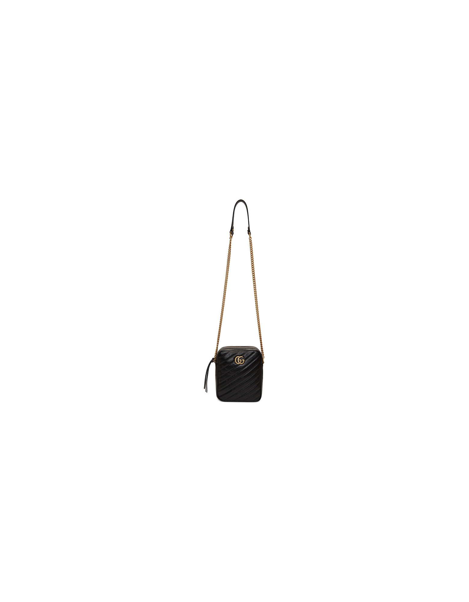 Gucci Designer Handbags, Black Mini GG Marmont Crossbody Bag