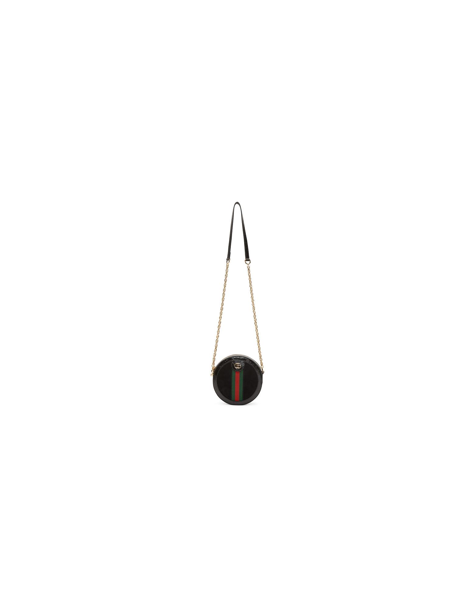 Gucci Designer Handbags, Black Mini Ophidia Round Bag