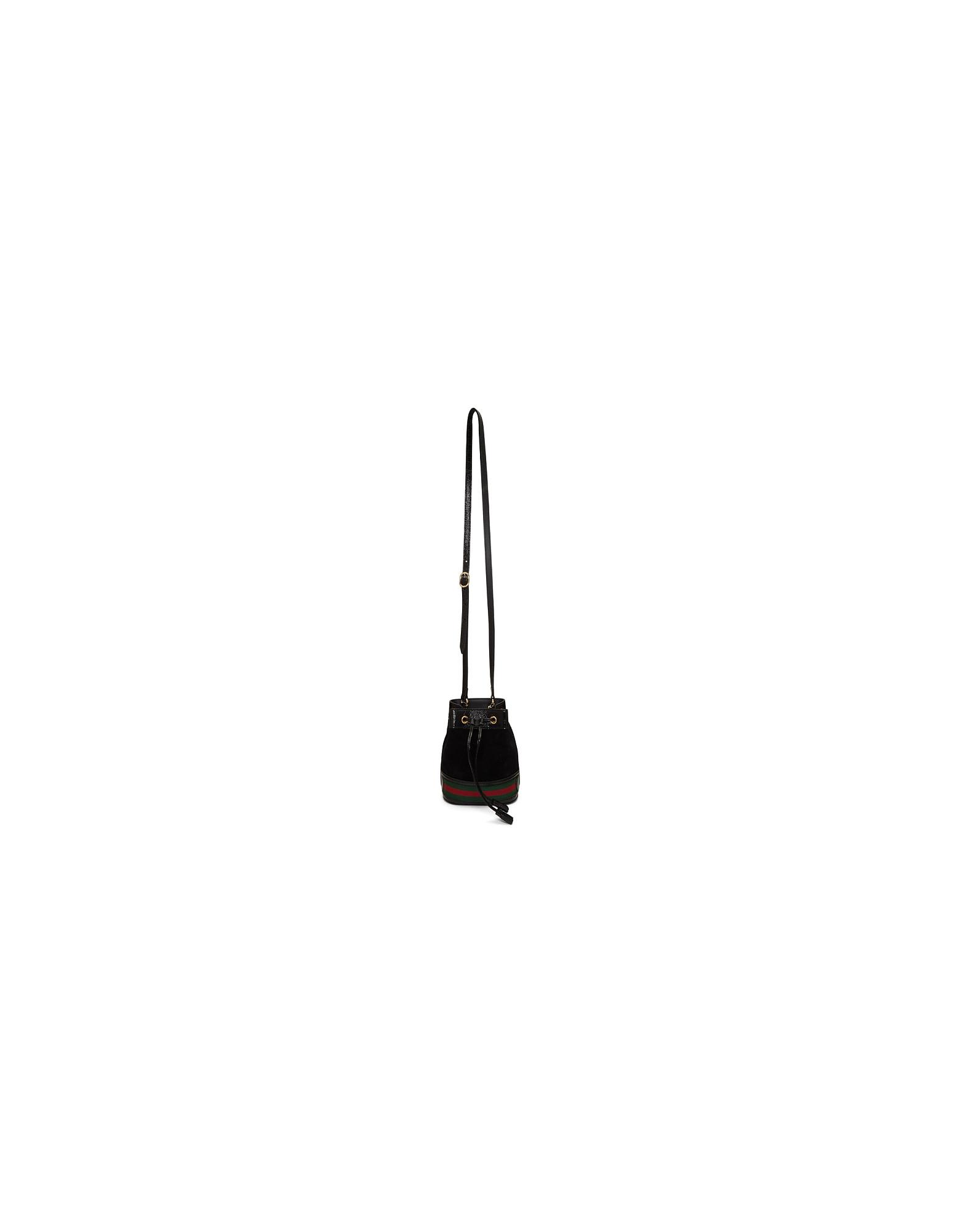 Gucci Designer Handbags, Black Mini Ophidia Bucket Bag