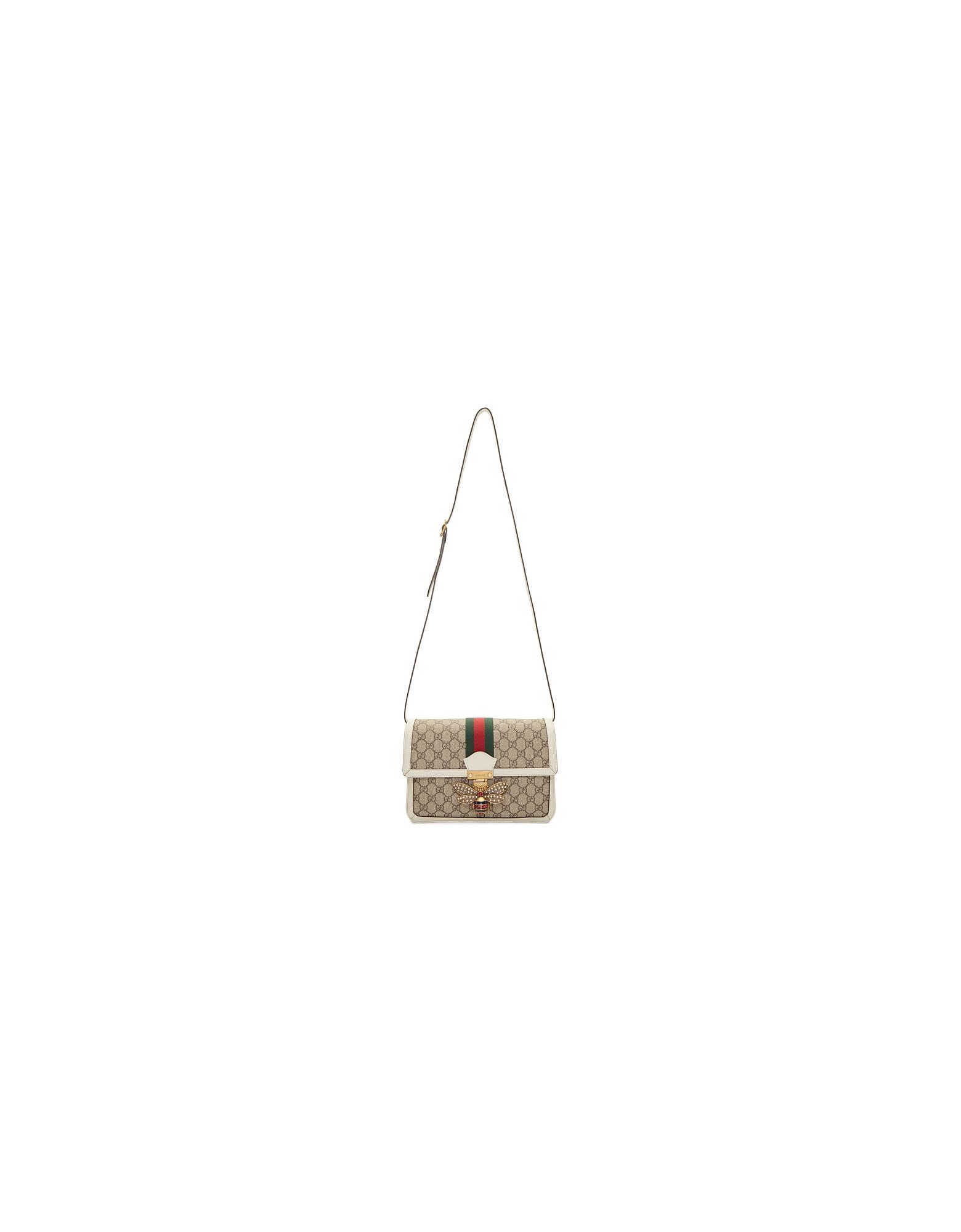 Gucci Designer Handbags, Beige and White GG Queen Margaret Bag