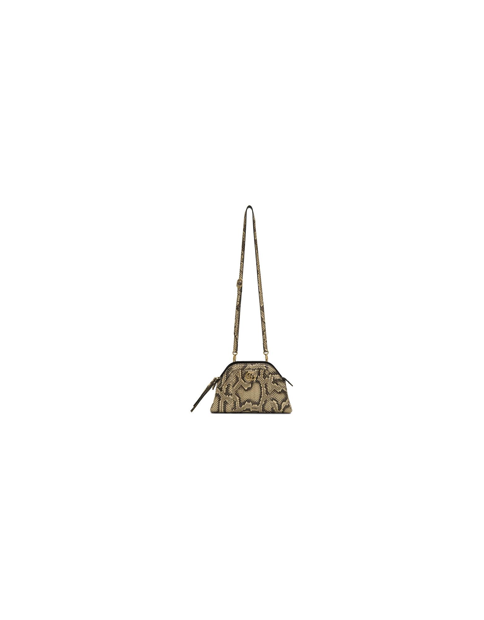 Gucci Designer Handbags, Beige Python Rebelle Shoulder Bag