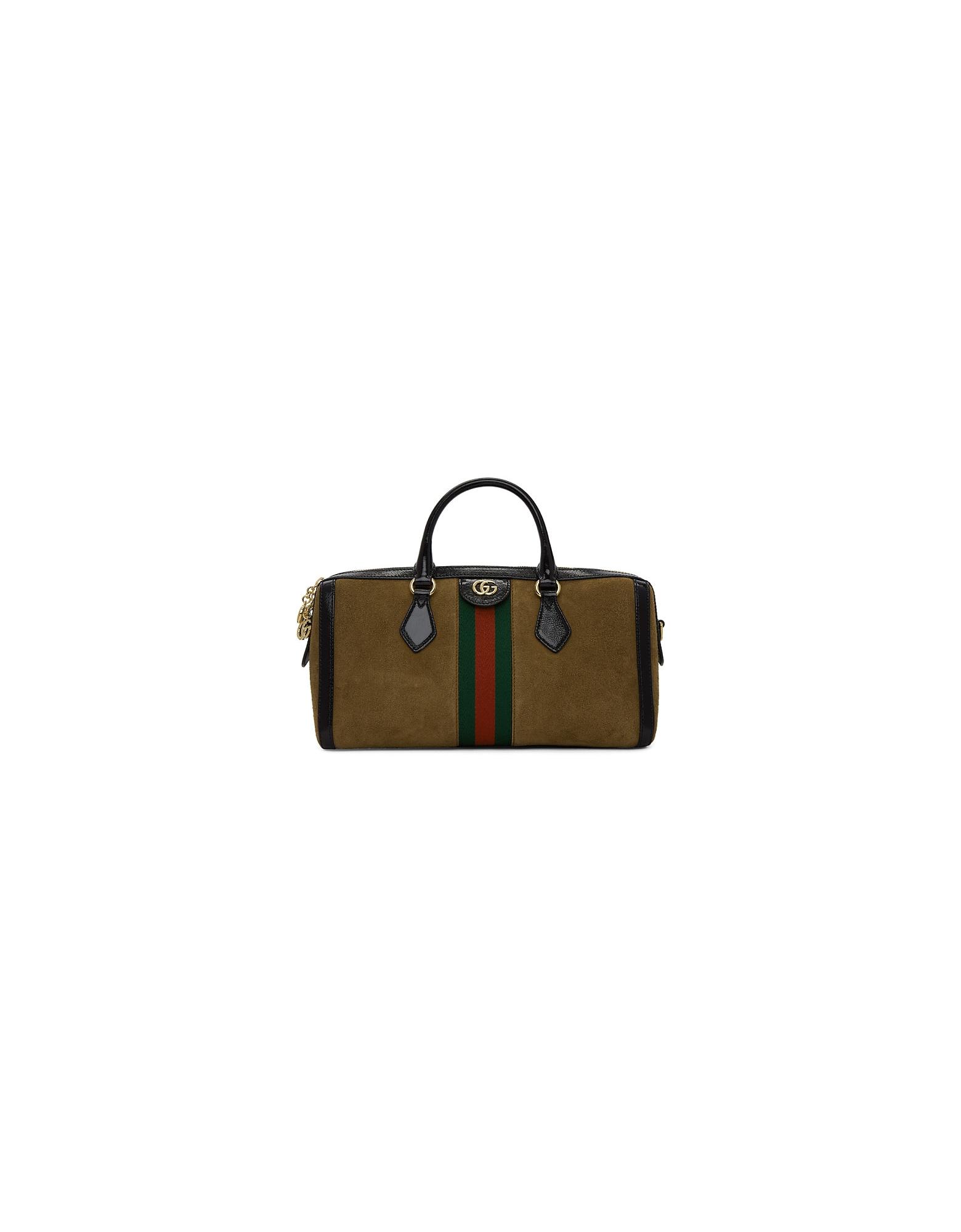 Gucci Designer Handbags, Brown Suede Medium Ophidia Top Handle Bag
