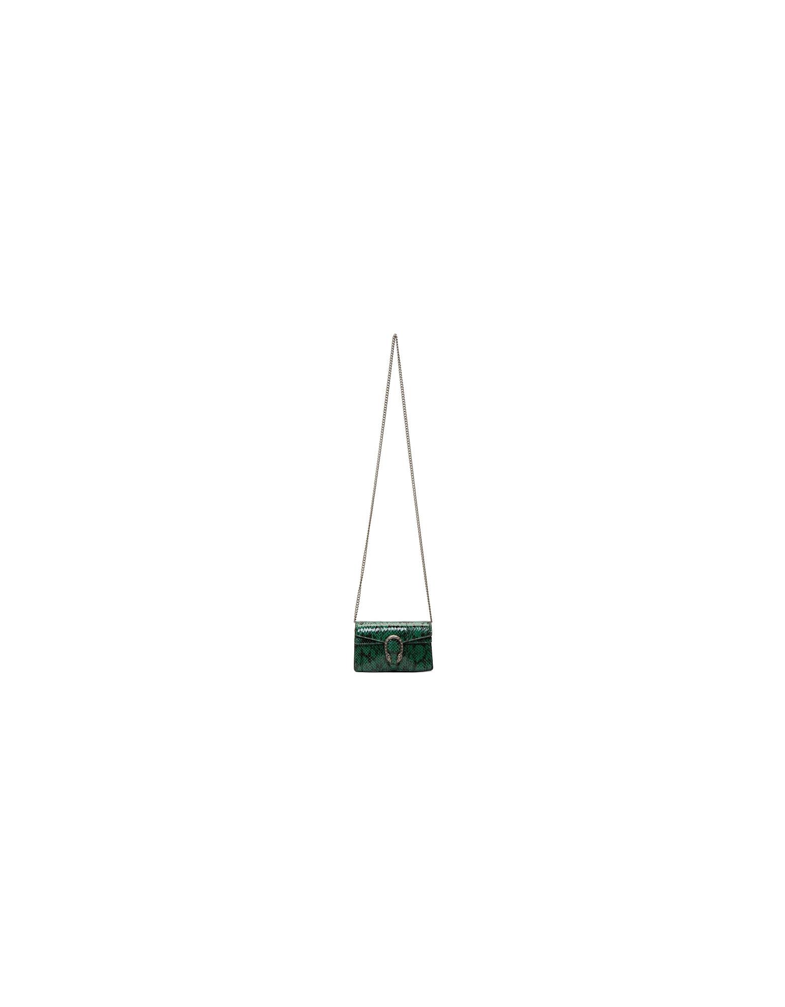 Gucci Designer Handbags, Green Super Mini Snakeskin Dionysus Bag