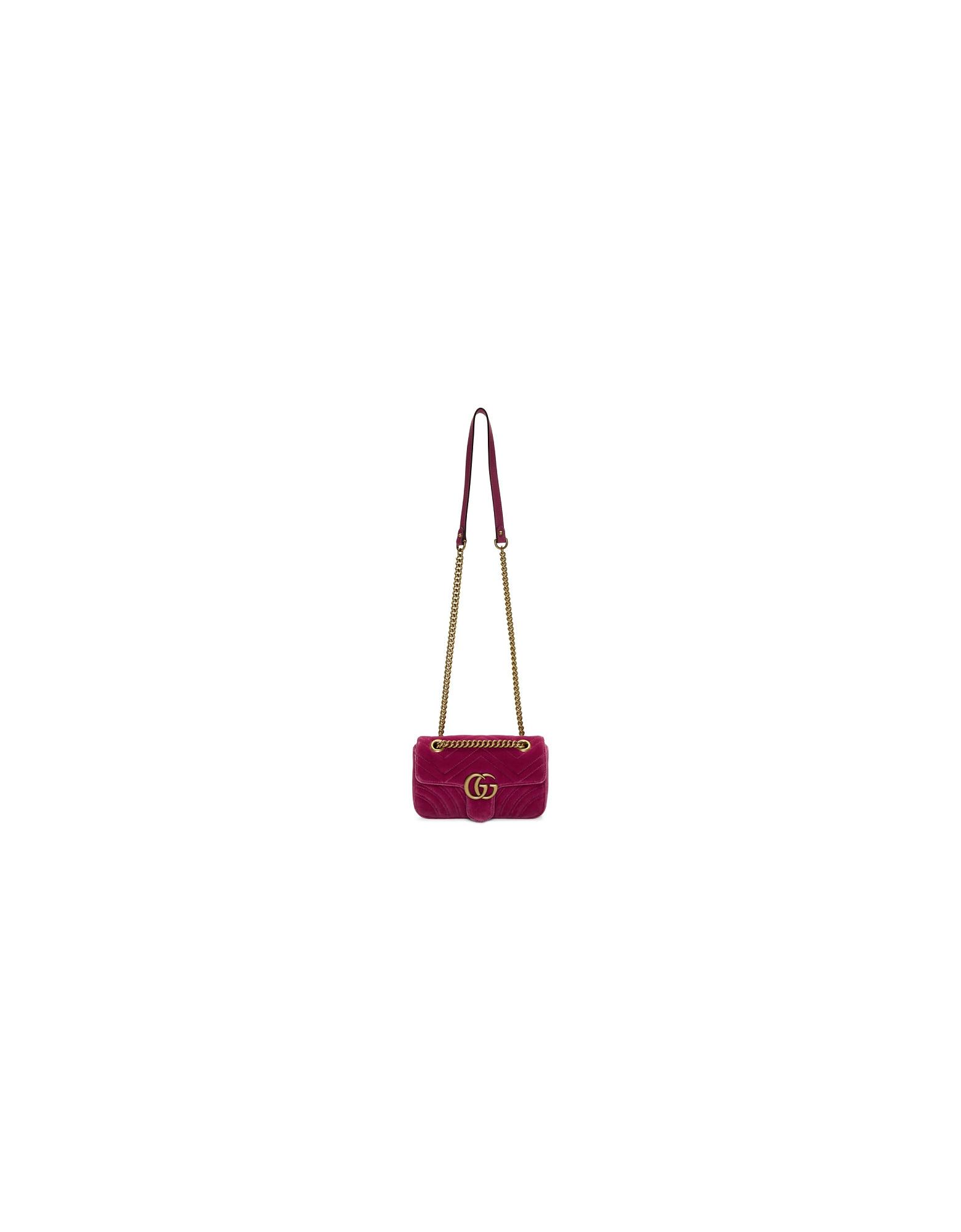 Gucci Designer Handbags, Pink Mini Velvet Marmont 2.0 Bag