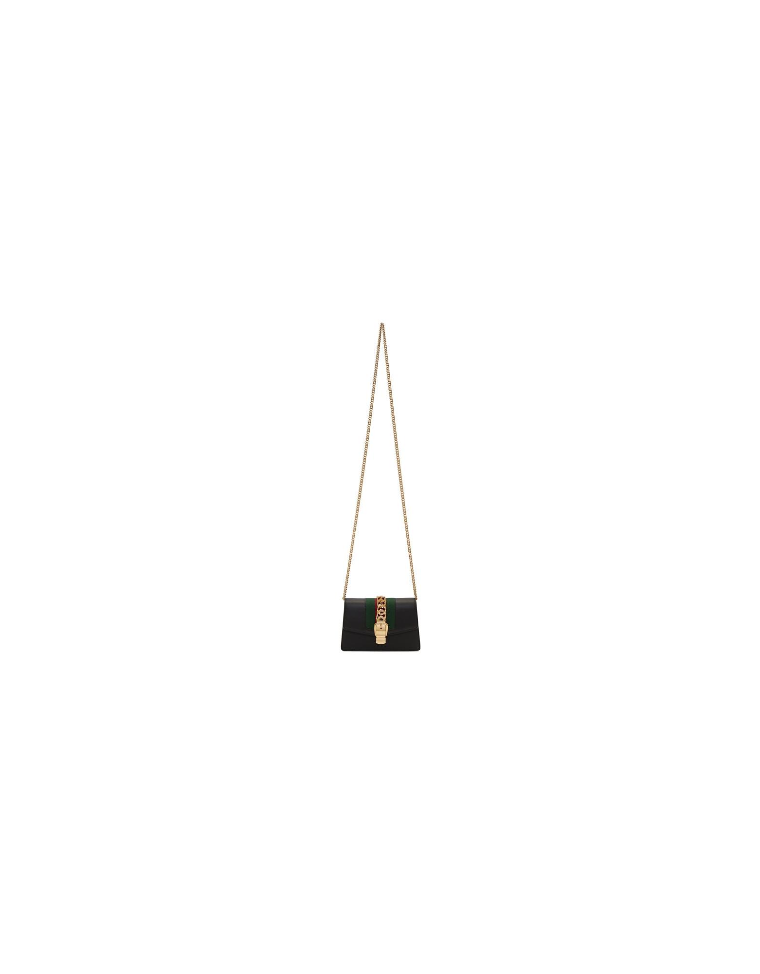 Gucci Designer Handbags, Black Supermini Sylvie Chain Bag