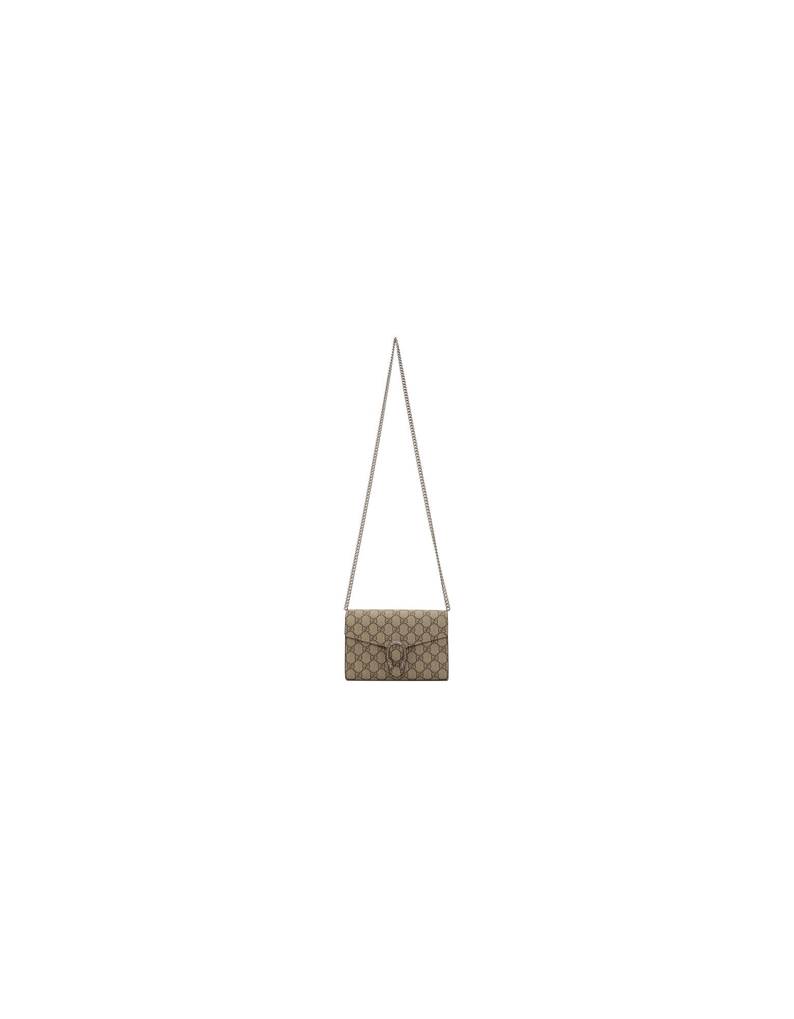 Gucci Designer Handbags, Beige GG Dionysus Wallet Chain Bag