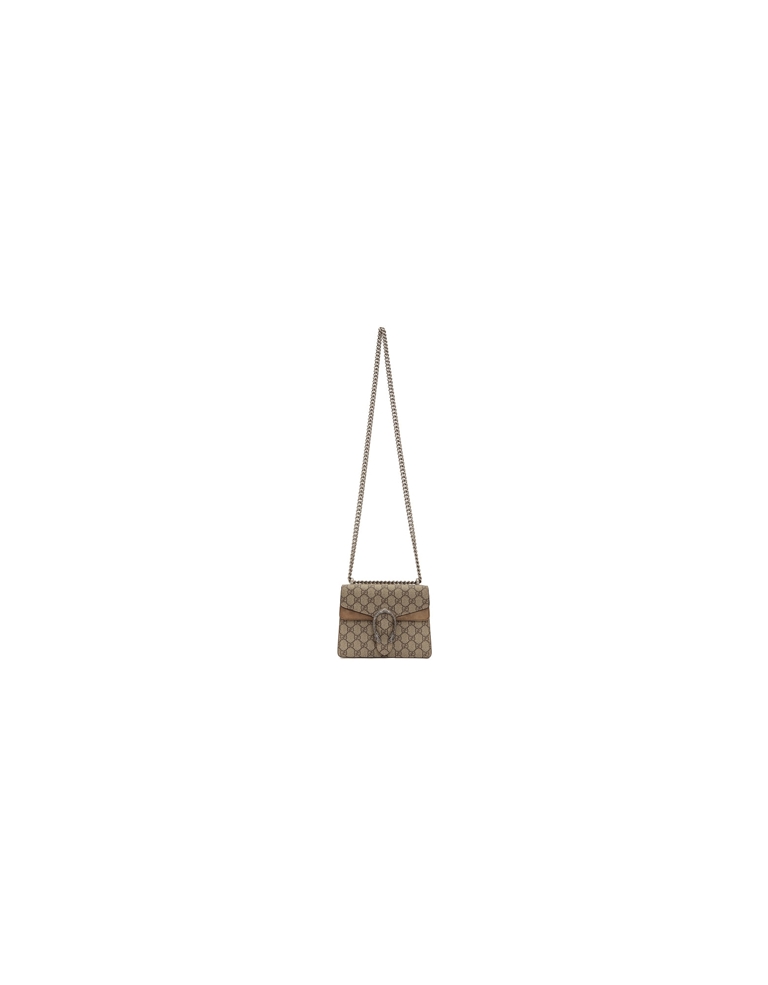 Gucci Designer Handbags, Beige GG Supreme Mini Dionysus Shoulder Bag