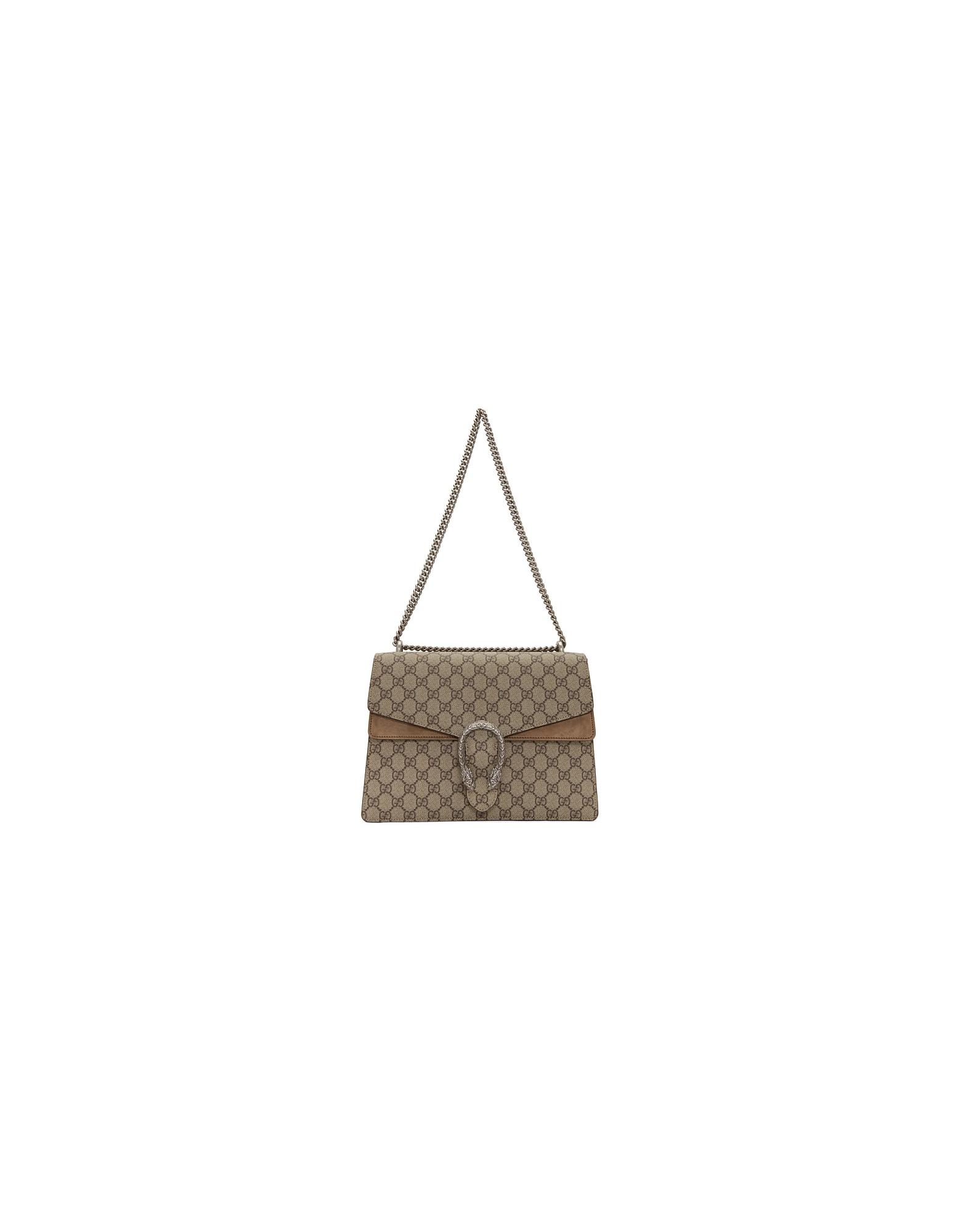 Gucci Designer Handbags, Beige Medium Dionysus Shoulder Bag