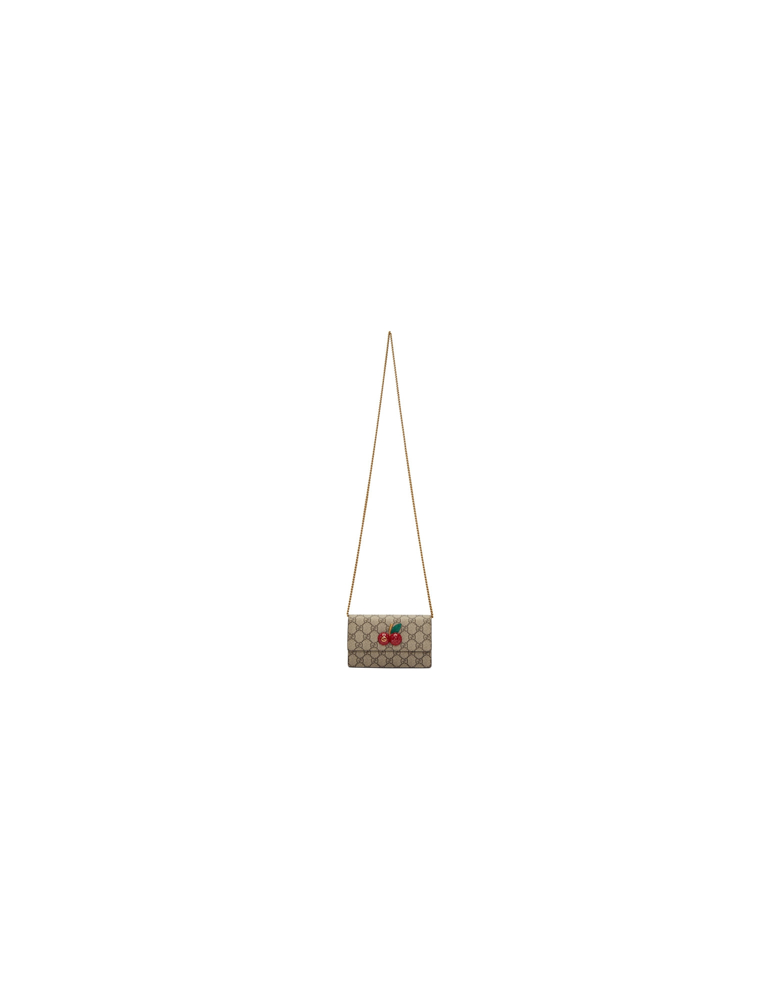 Gucci Designer Handbags, Beige GG Sparkling Cherries Chain Wallet Bag