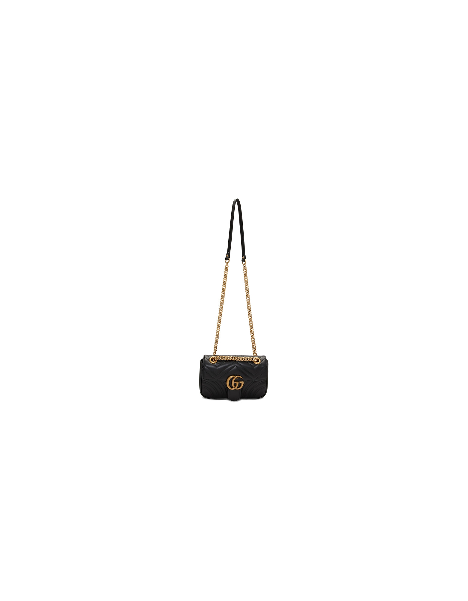 Gucci Designer Handbags, Black Mini GG Marmont Bag