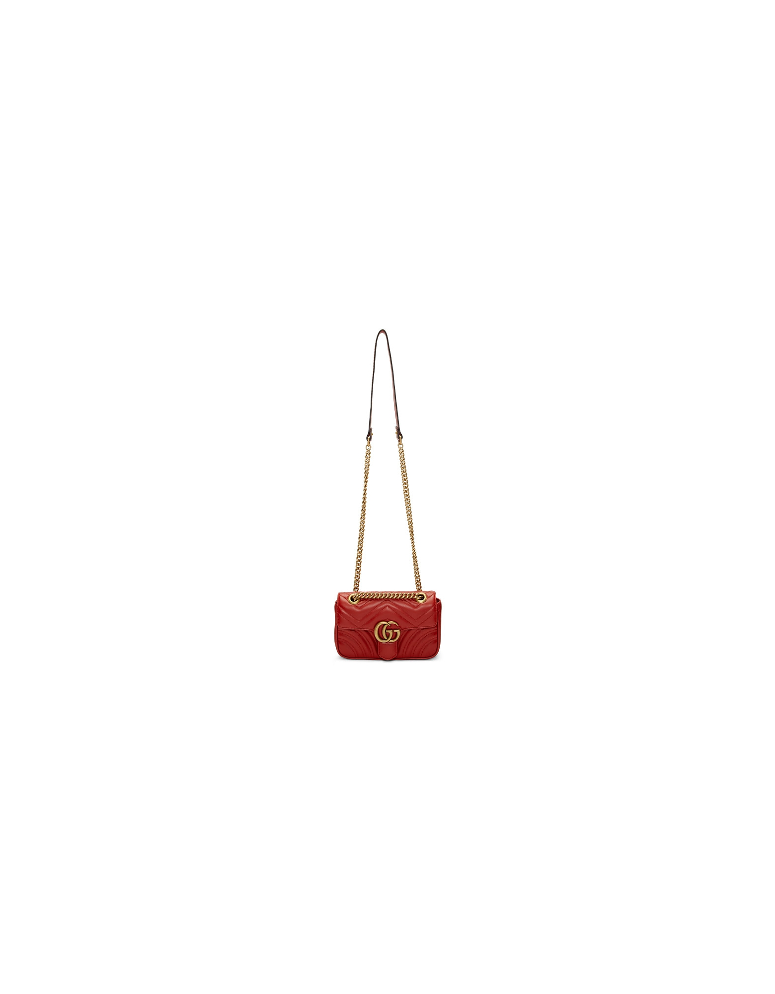 Gucci Designer Handbags, Red Mini GG Marmont 2.0 Shoulder Bag
