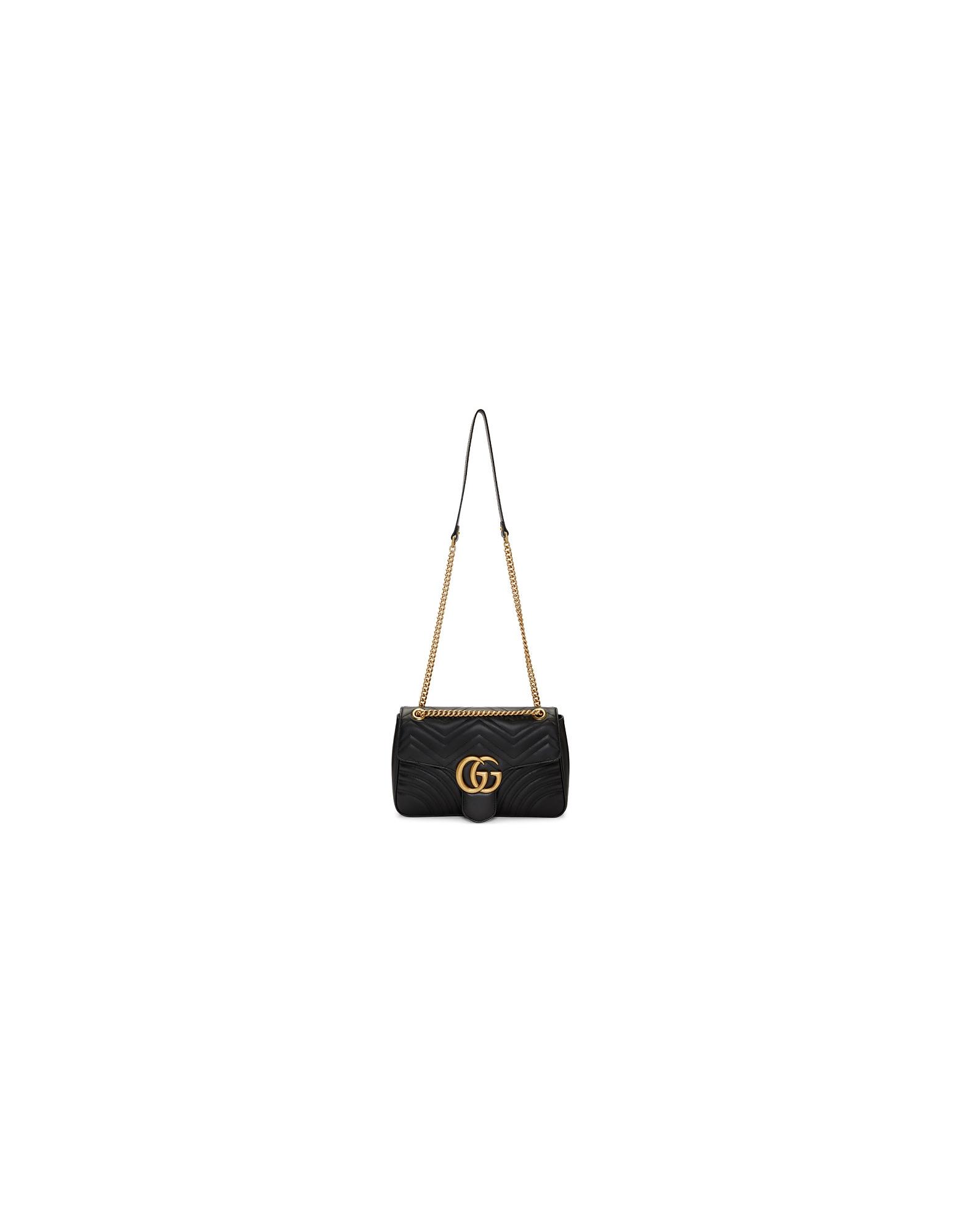 Gucci Designer Handbags, Black Medium GG Marmont 2.0 Shoulder Bag