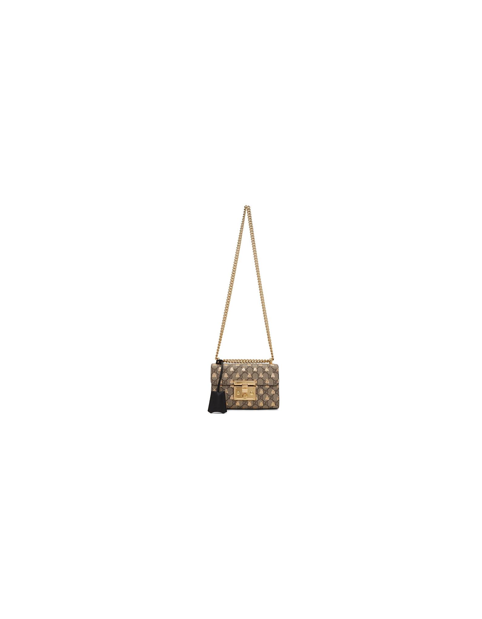 Gucci Designer Handbags, Beige Small GG Supreme Bees Padlock Bag
