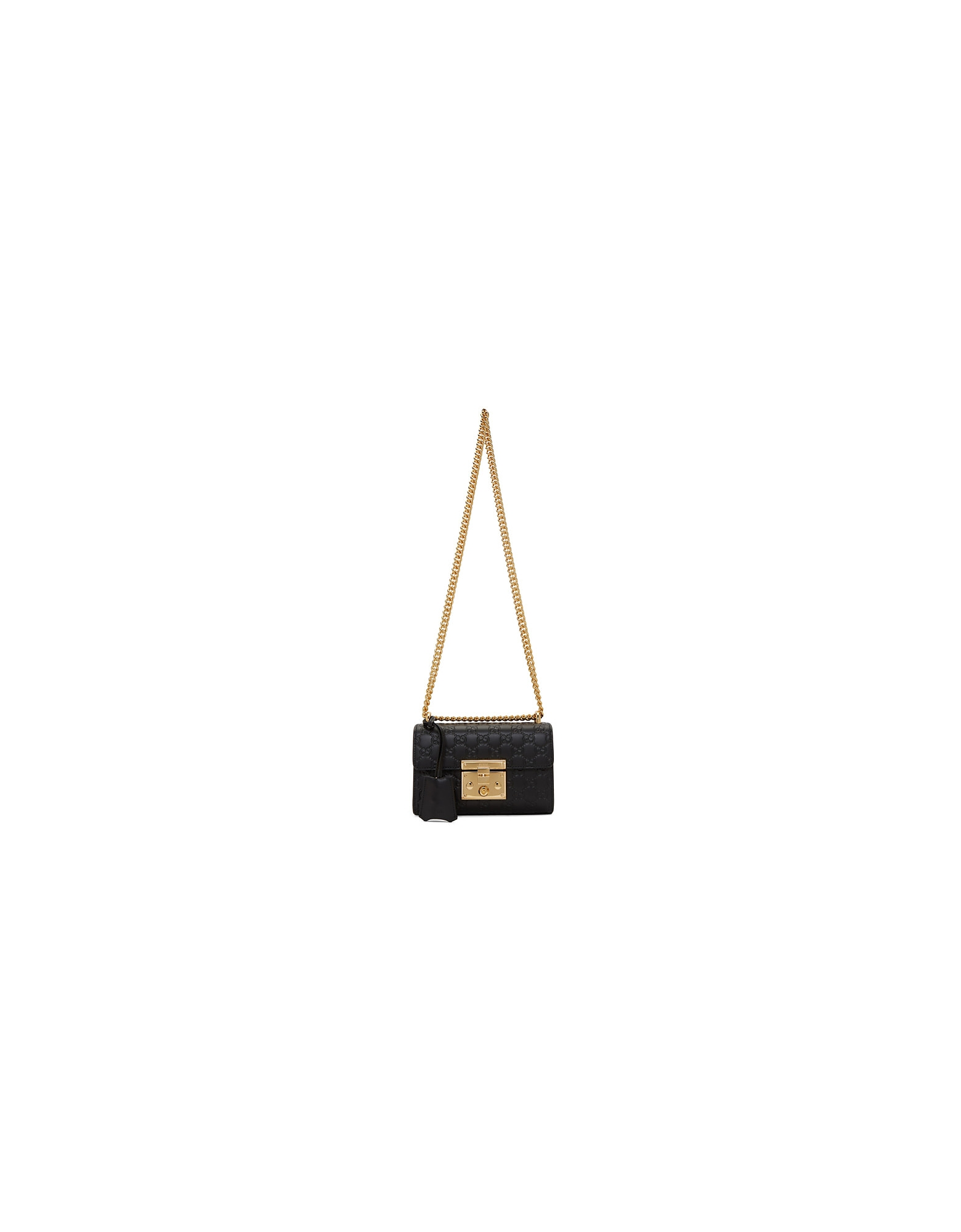 Gucci Designer Handbags, Black Small GG Padlock Bag