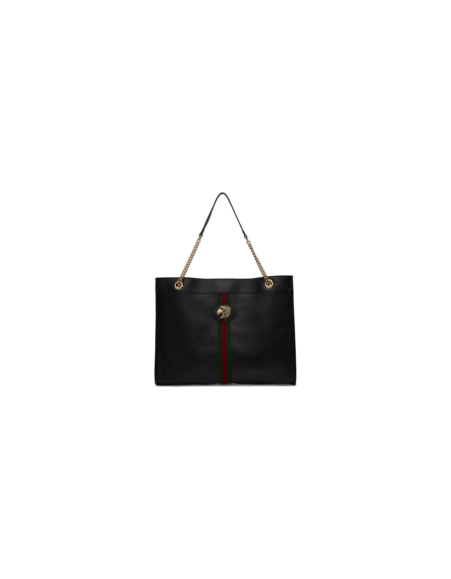 Gucci Designer Handbags, Black Rajah Tote