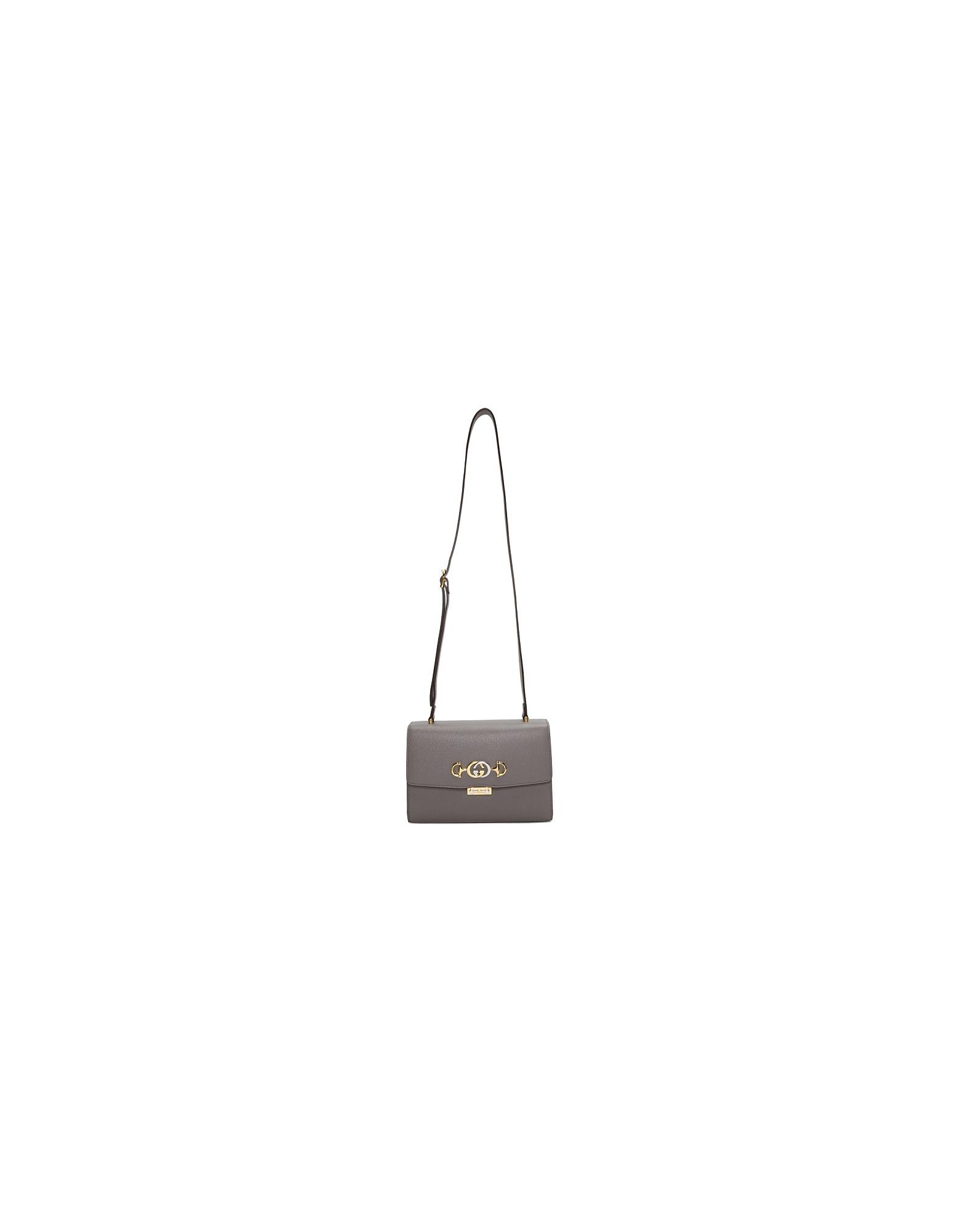 Gucci Designer Handbags, Grey Small Zummi Shoulder Bag