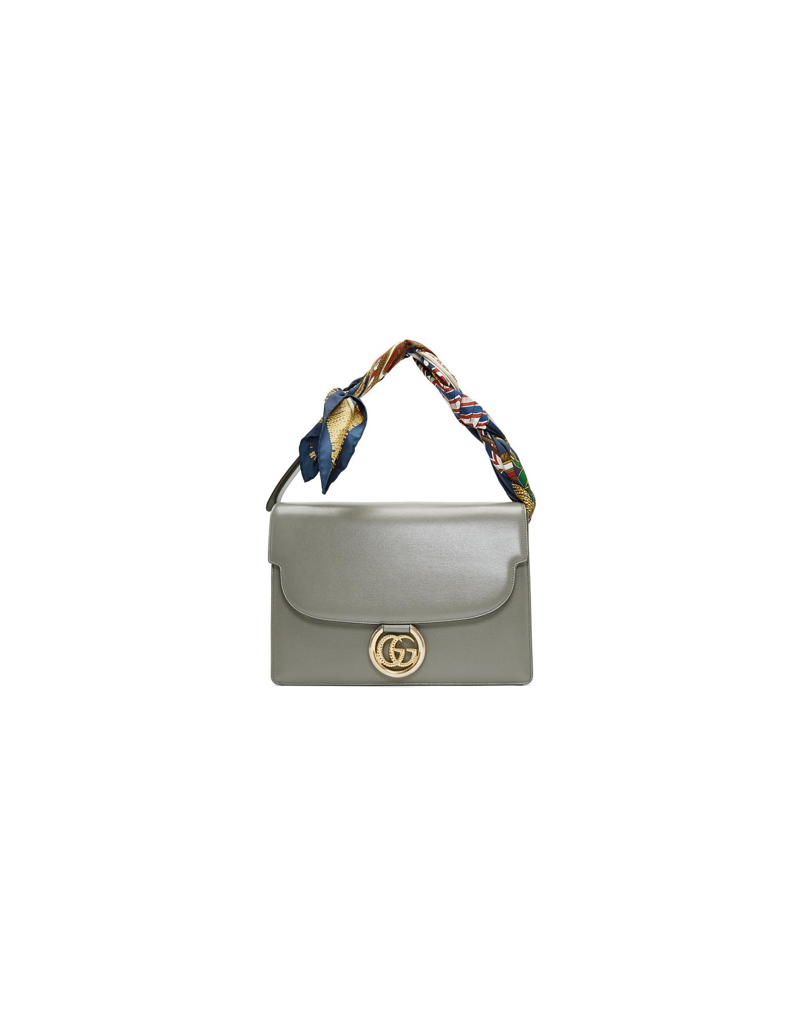 Gucci Designer Handbags, Grey Medium GG Ring Scarf Shoulder Bag