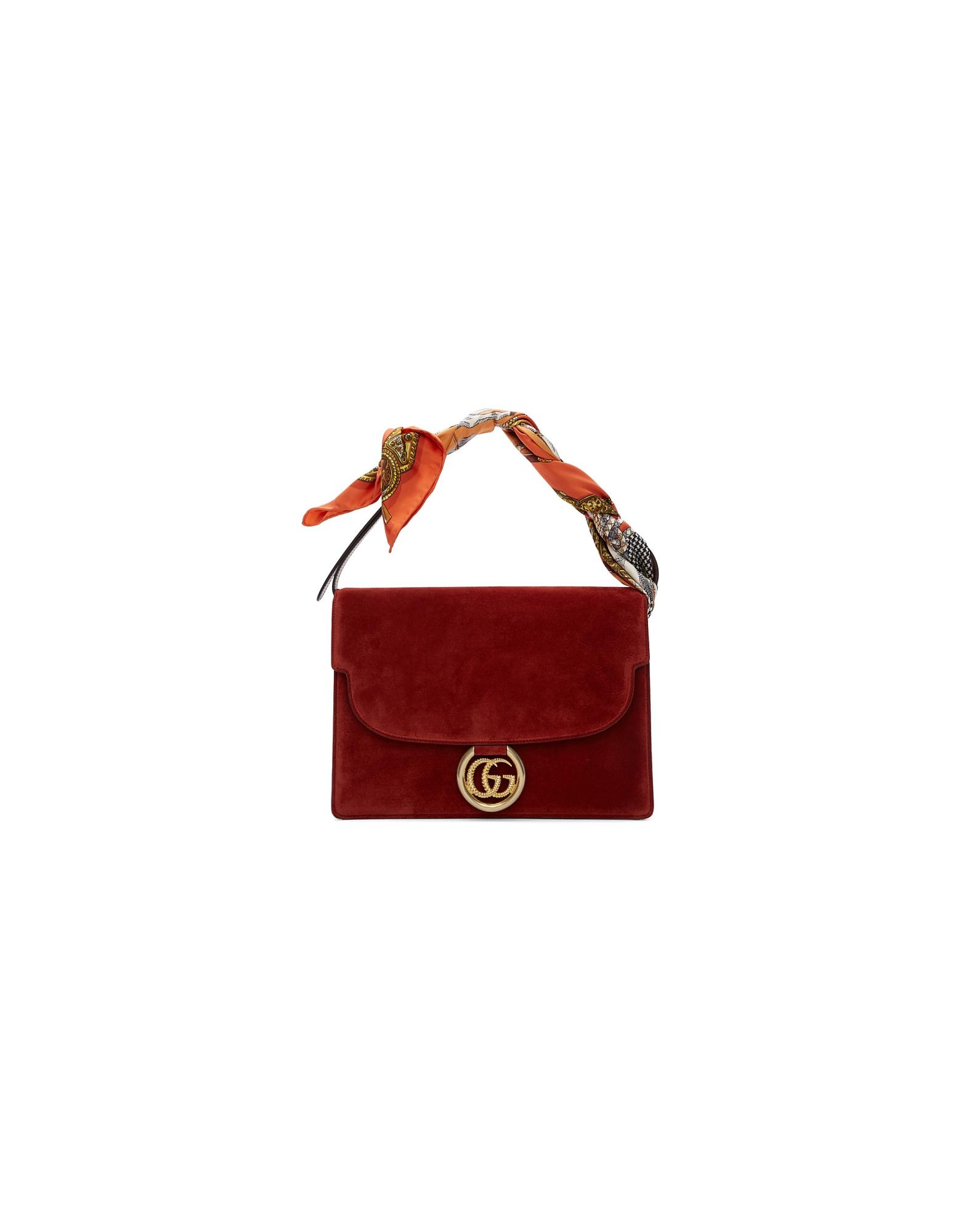 Gucci Designer Handbags, Red Suede Medium GG Ring Scarf Shoulder Bag