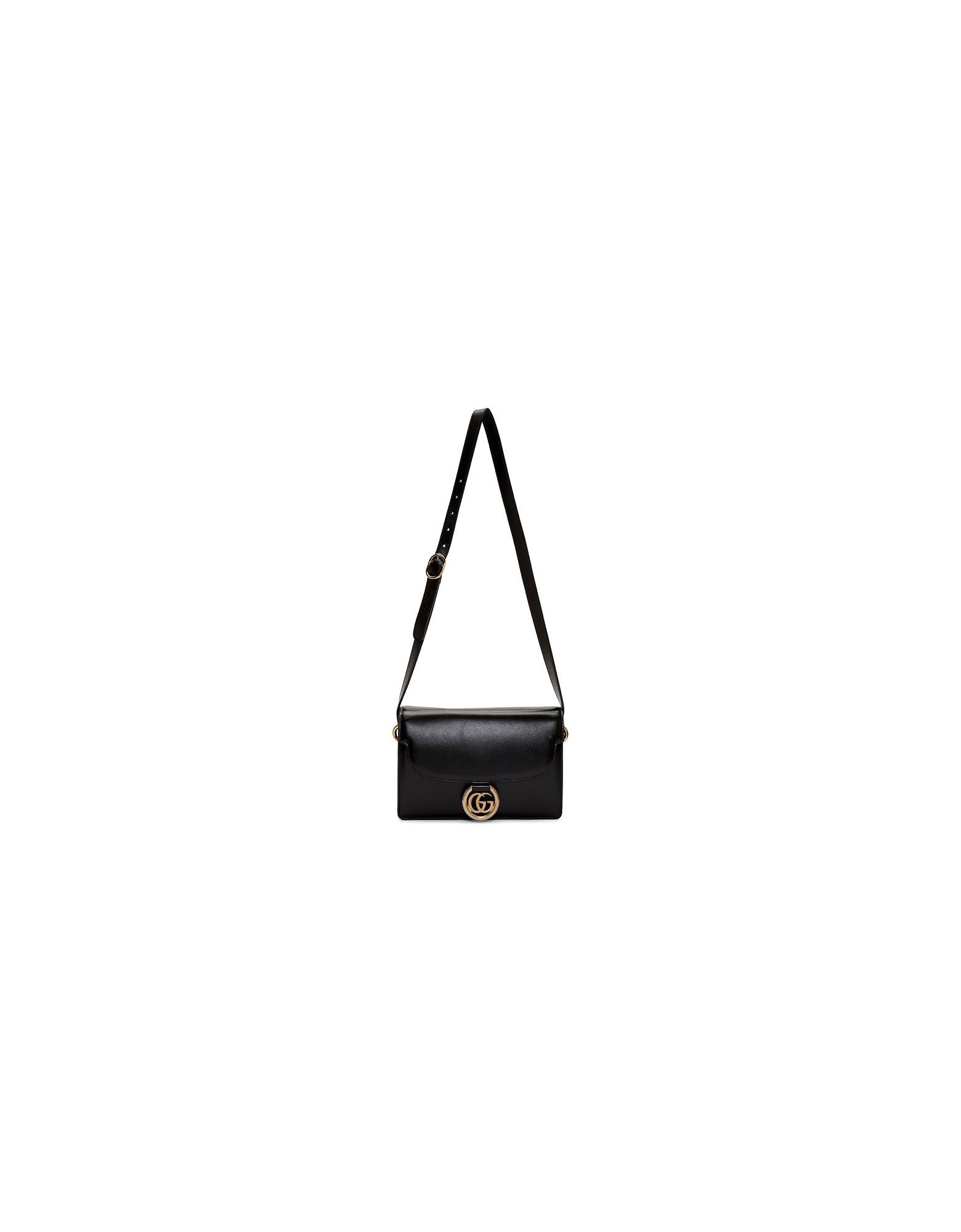 Gucci Designer Handbags, Black Small GG Ring Shoulder Bag