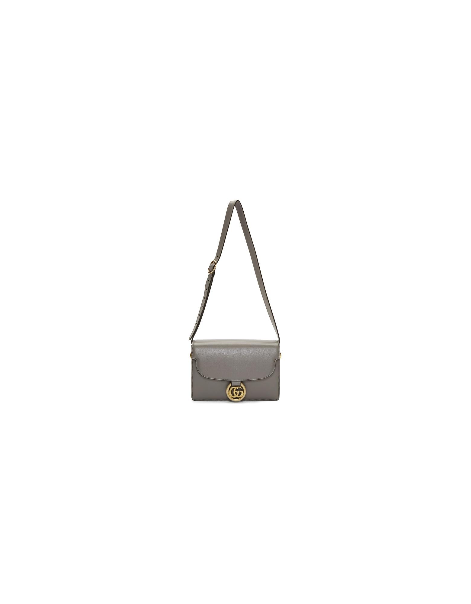 Gucci Designer Handbags, Grey Small GG Ring Shoulder Bag