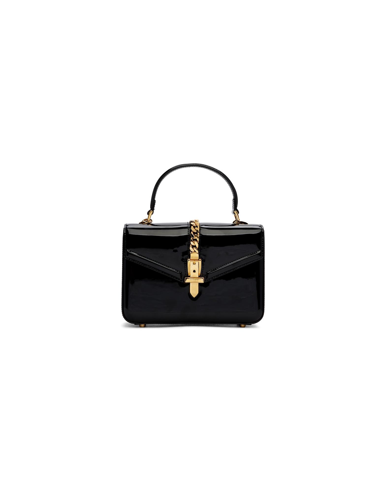 Gucci Designer Handbags, Black Mini Patent Sylvie Bag
