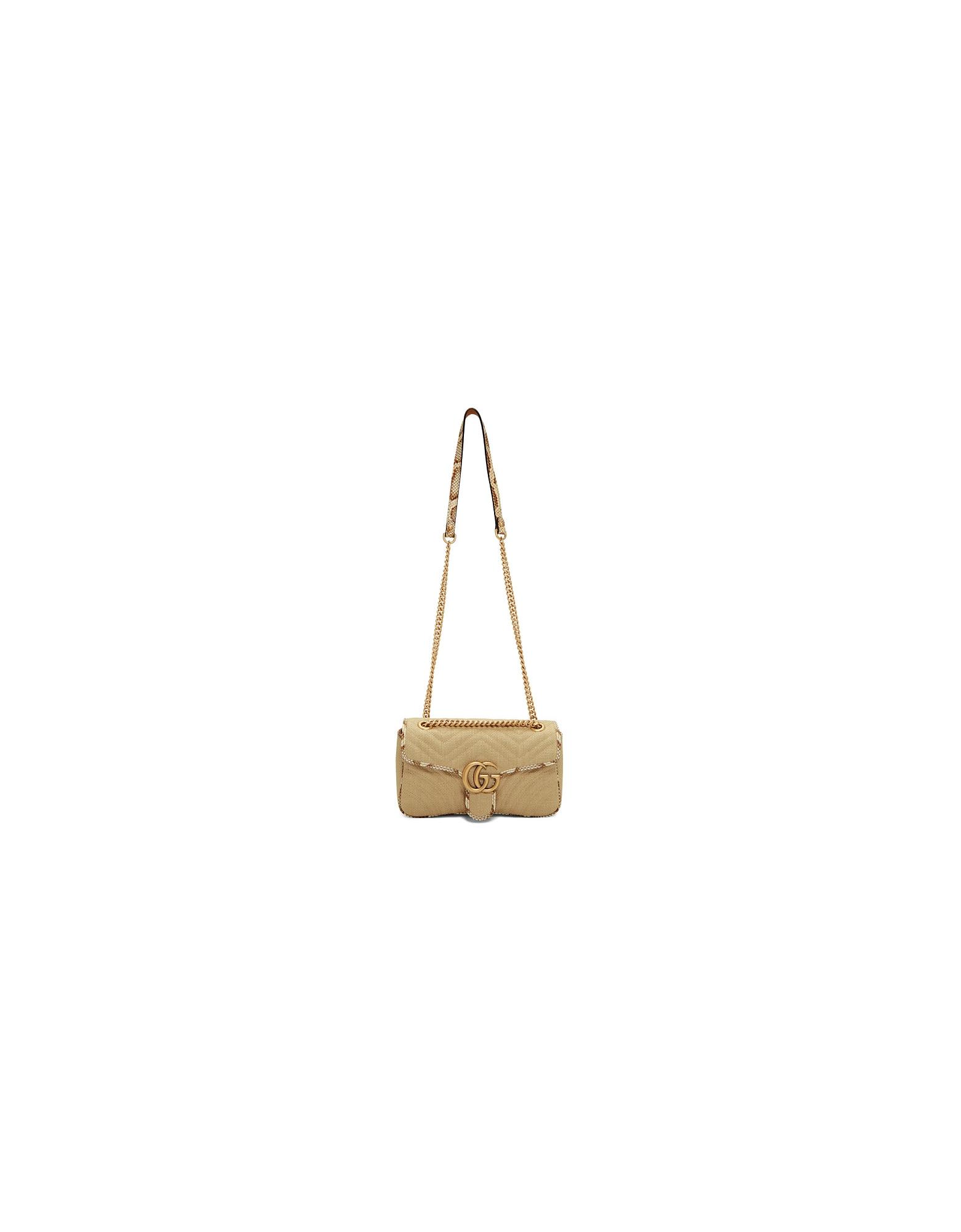 Gucci Designer Handbags, Beige Raffia GG Marmont Bag