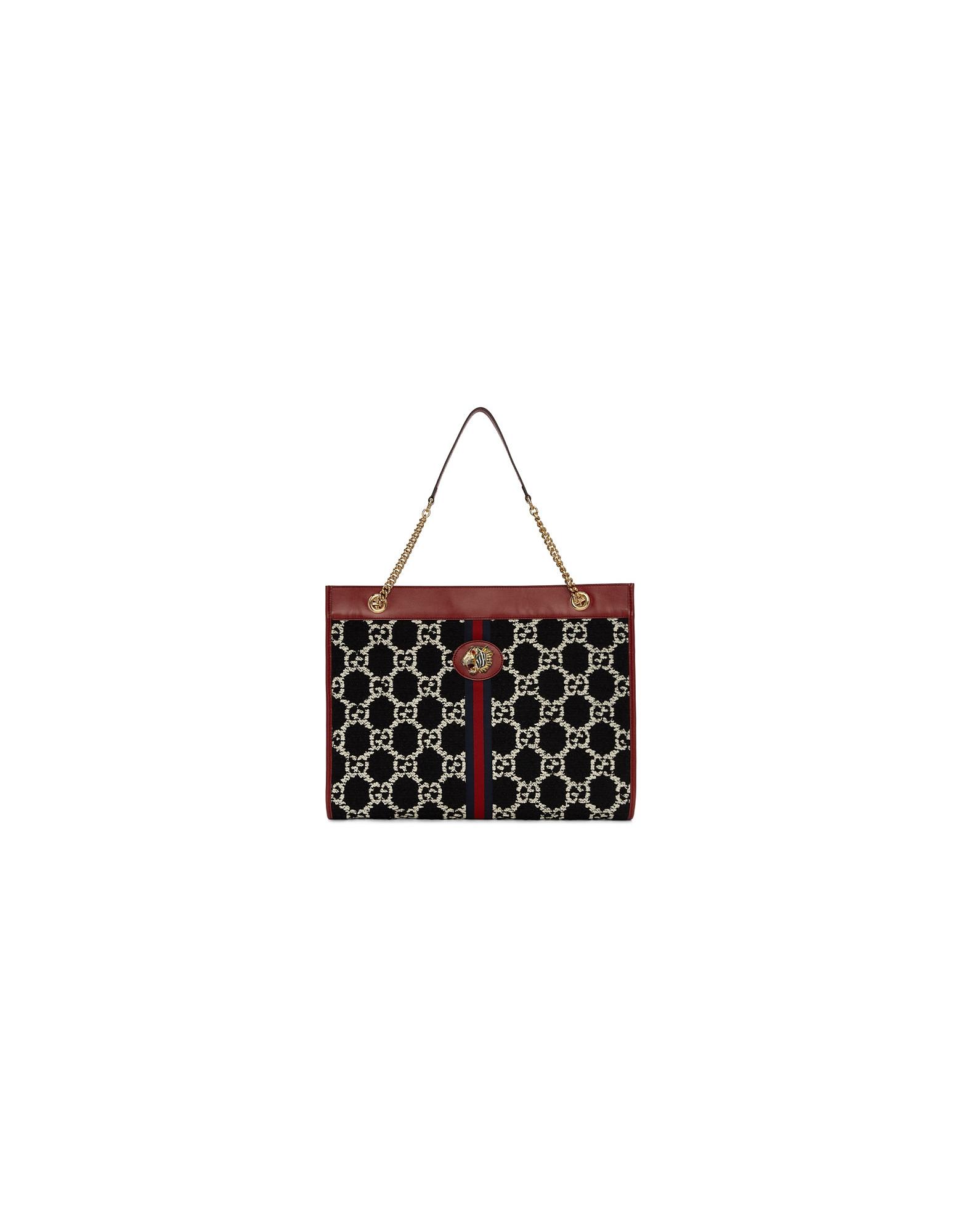 Gucci Designer Handbags, Black and White Large Rajah GG Supreme Tote