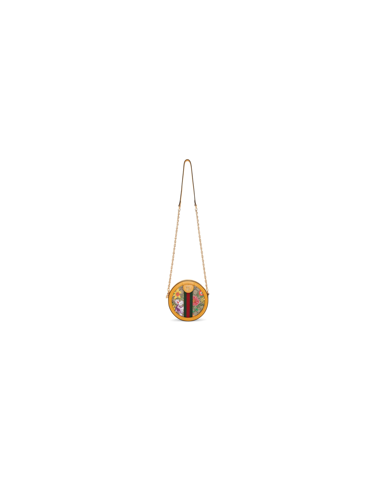 Gucci Designer Handbags, Yellow and Multicolor Mini Round Ophidia Bag