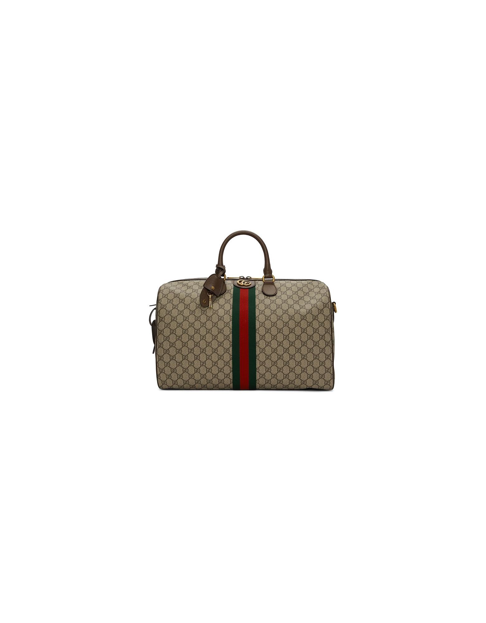 Gucci Designer Handbags, Beige GG Supreme Ophidia Duffle Bag