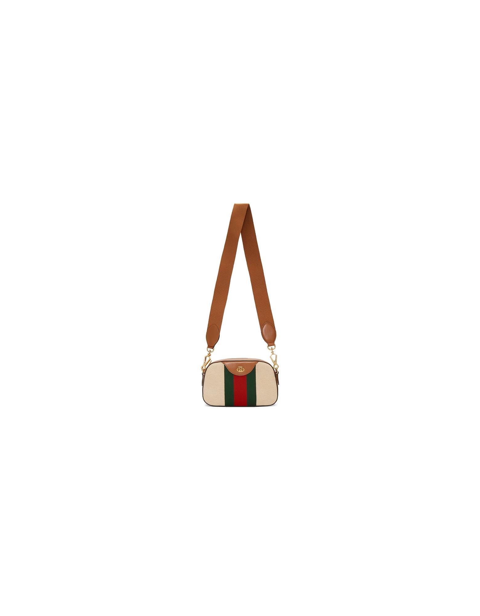 Gucci Designer Handbags, Beige GG Vintage Canvas Bag