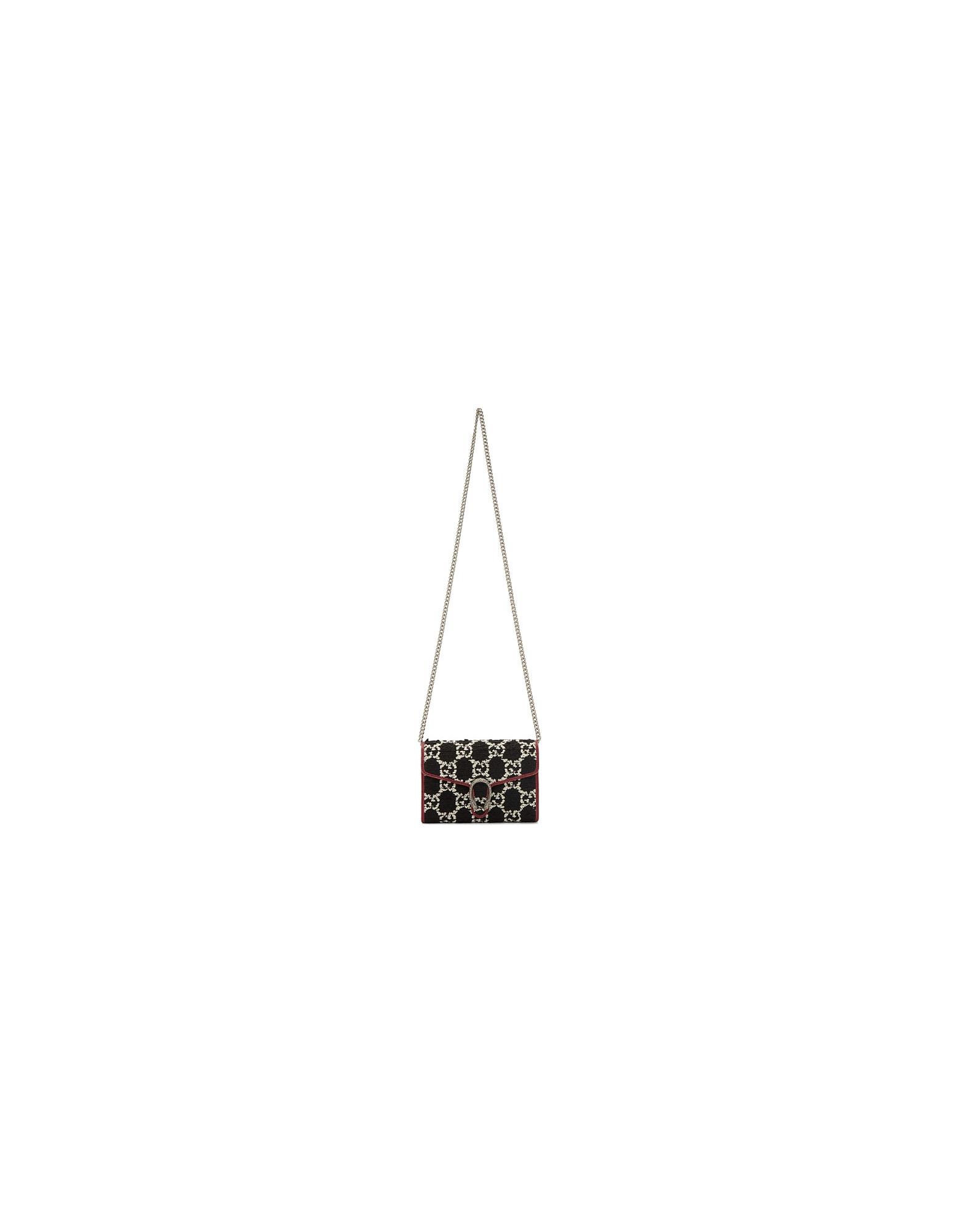 Gucci Designer Handbags, Navy Tweed Dionysus Chain Bag