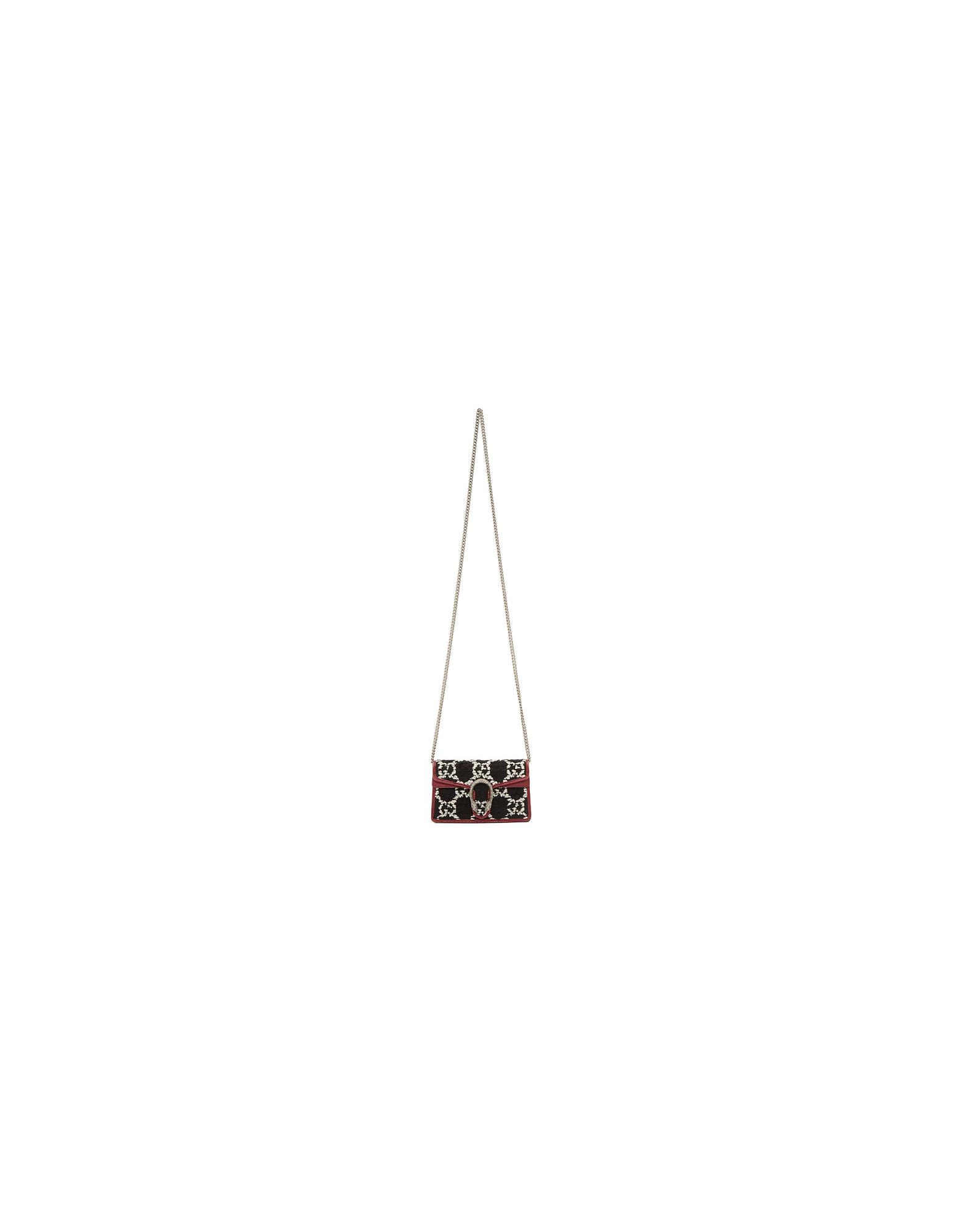 Gucci Designer Handbags, Navy Tweed Super Mini Dionysus Bag