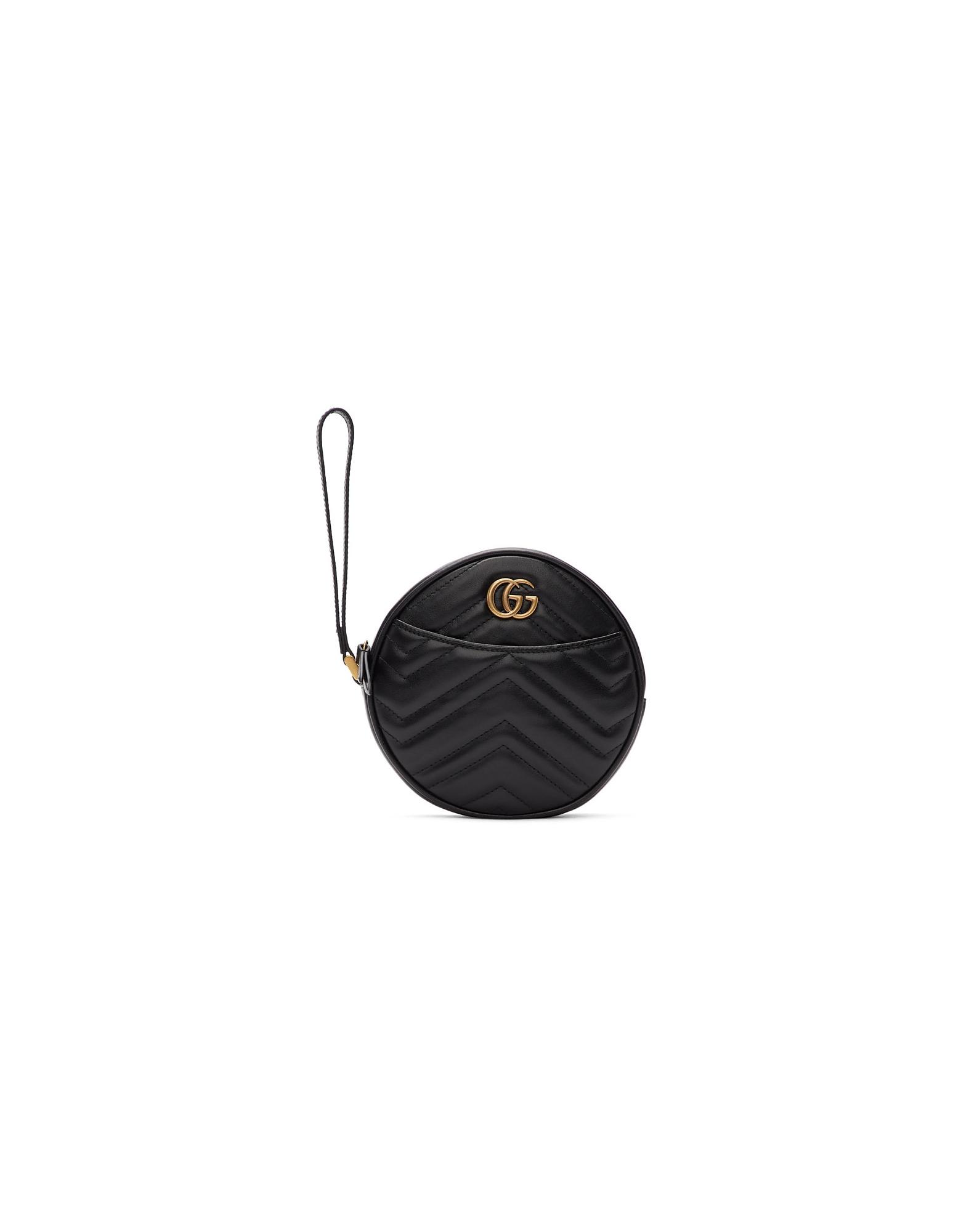 Gucci Designer Handbags, Black GG Marmont 2.0 Clutch