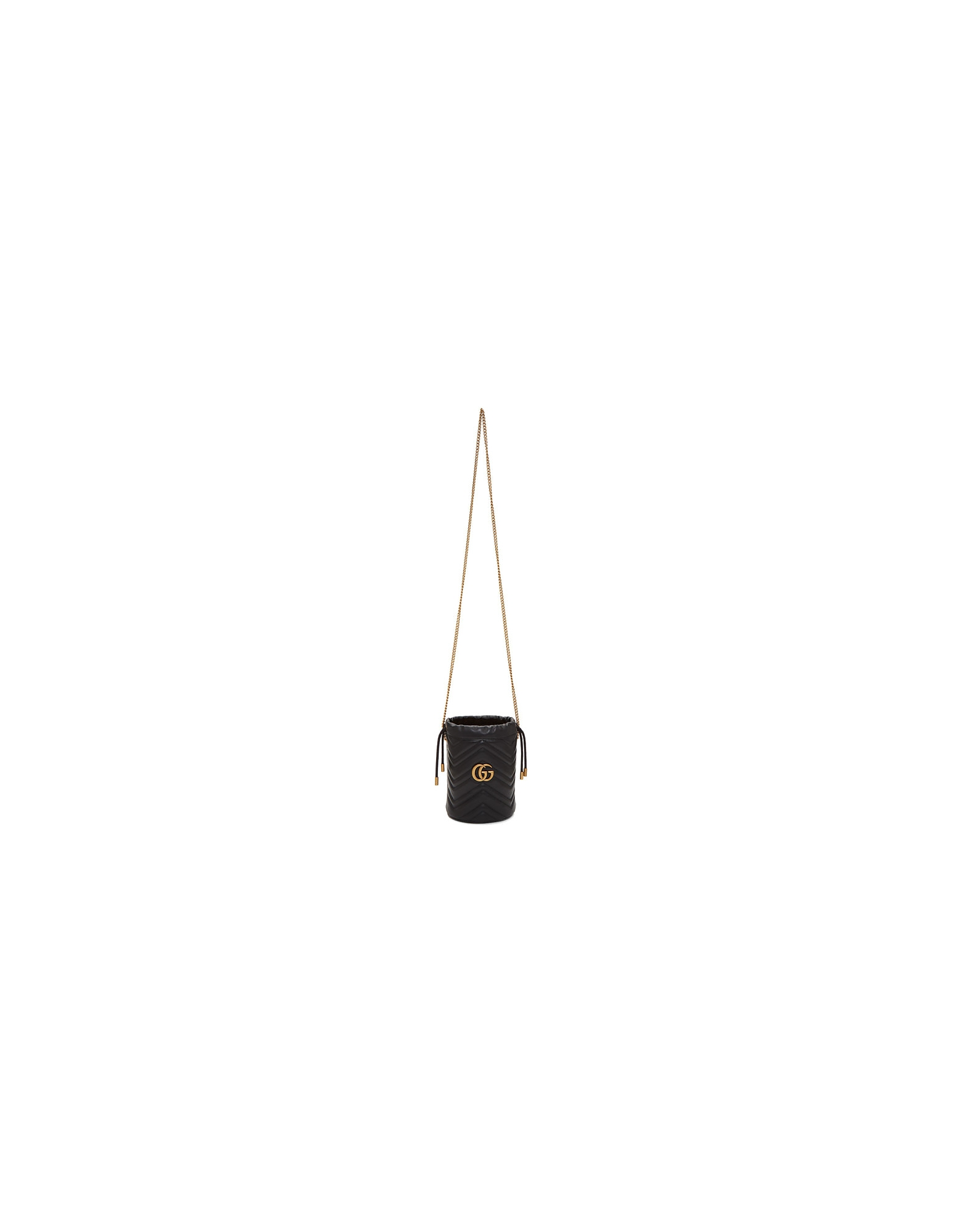 Gucci Designer Handbags, Black Mini GG Marmont 2.0 Bucket Bag