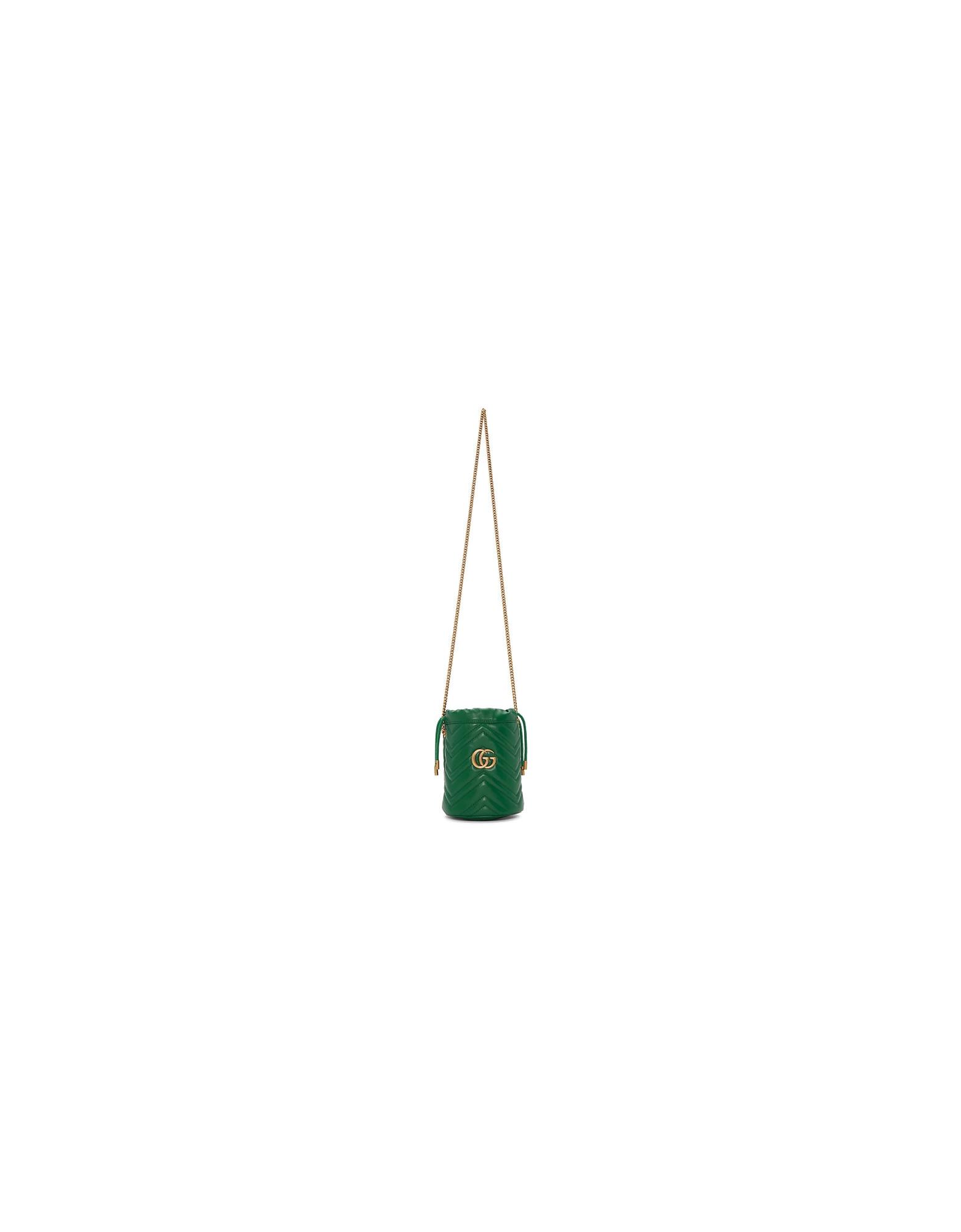 Gucci Designer Handbags, Green Mini GG Marmont Bucket Bag