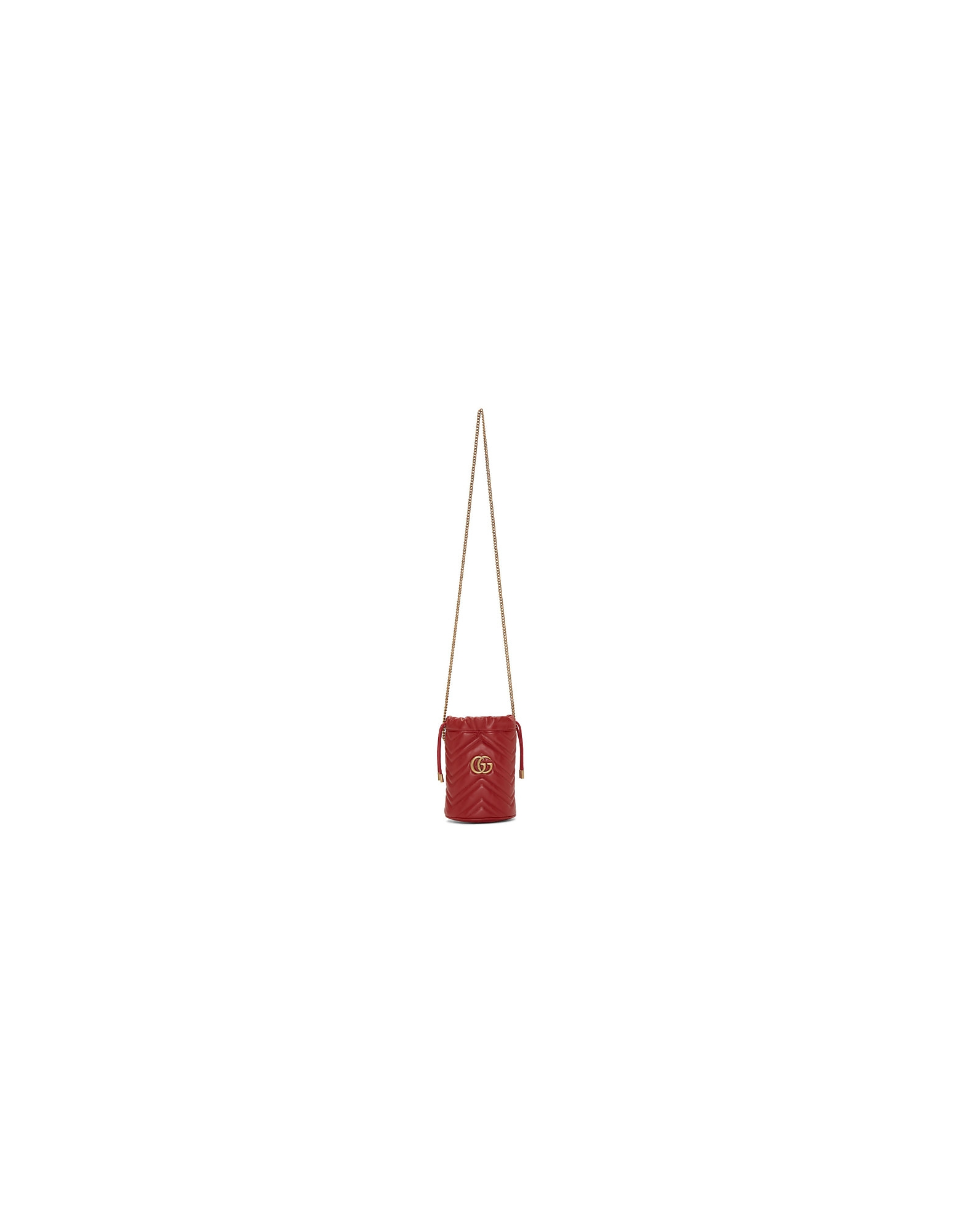 Gucci Designer Handbags, Red Mini GG Marmont Bucket Bag