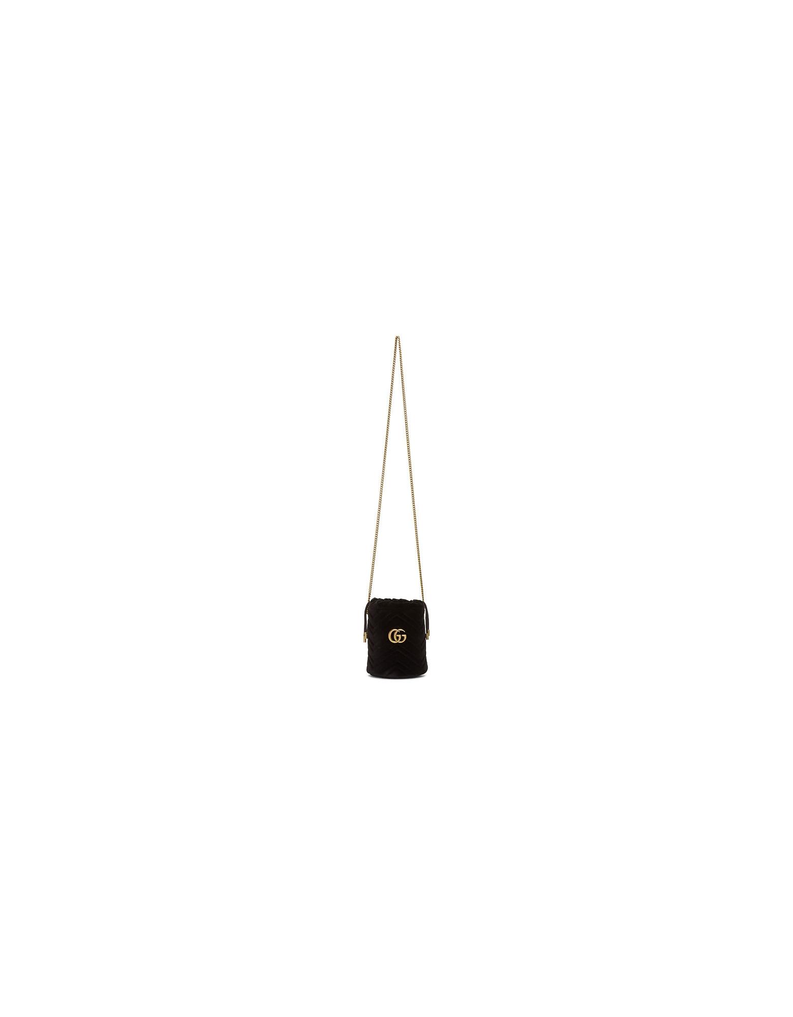 Gucci Designer Handbags, Black Mini Velvet GG Marmont Bucket Bag