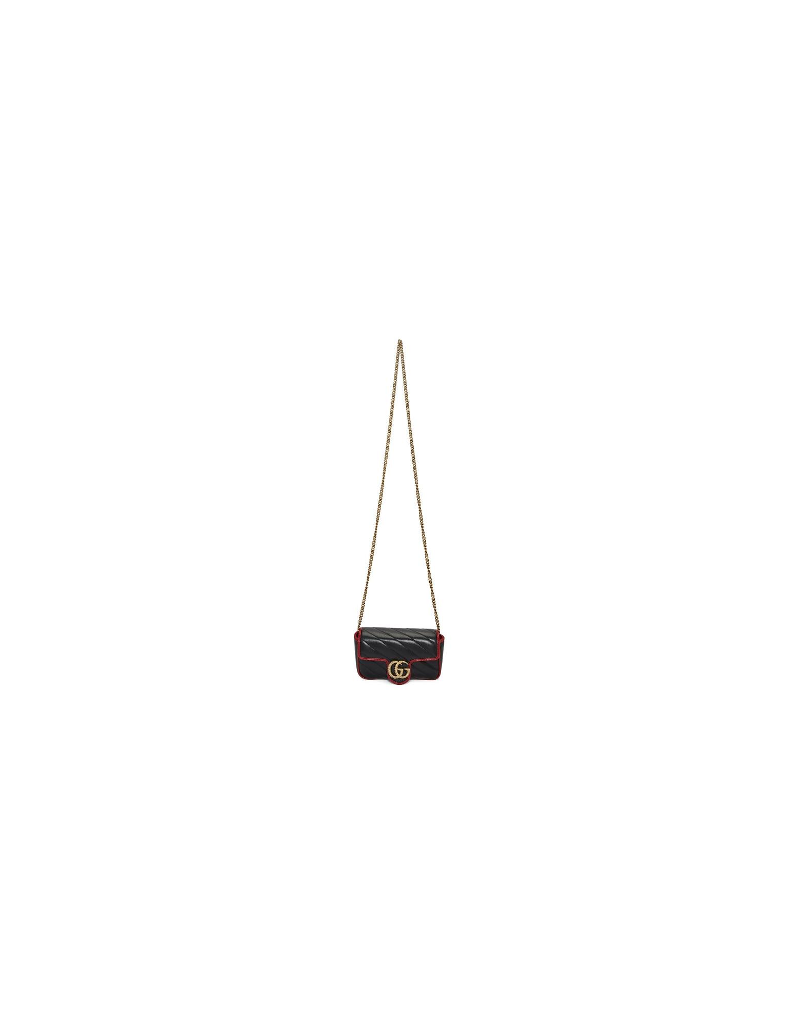 Gucci Designer Handbags, Black Super Mini Torchon GG Marmont Shoulder Bag