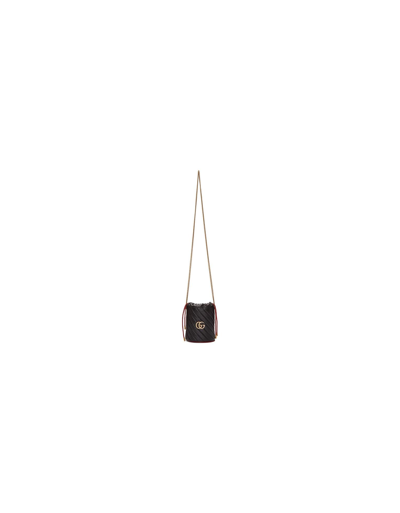 Gucci Designer Handbags, Black Torchon GG Marmont Bucket Bag