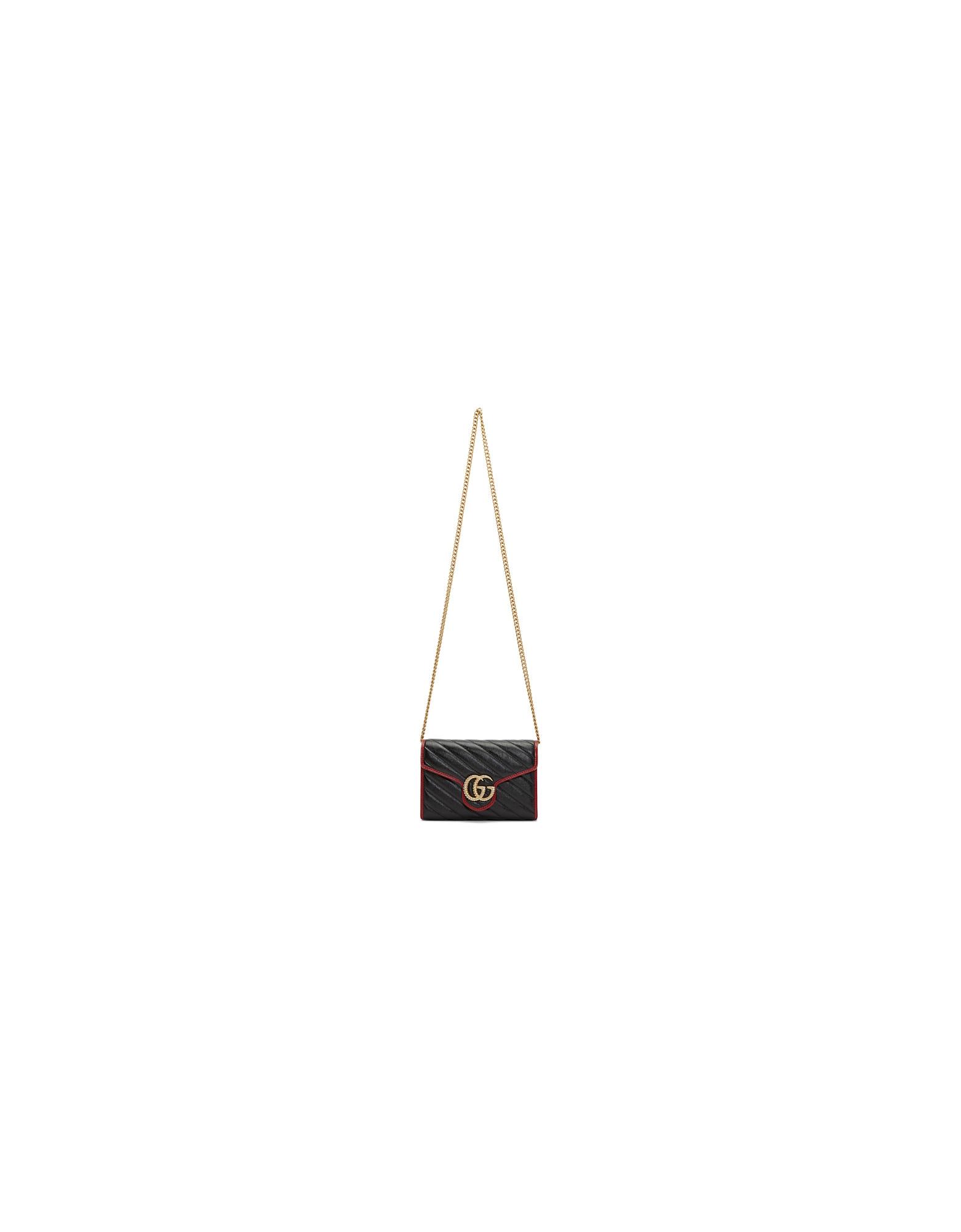 Gucci Designer Handbags, Black and Red Torchon GG Marmont Shoulder Bag