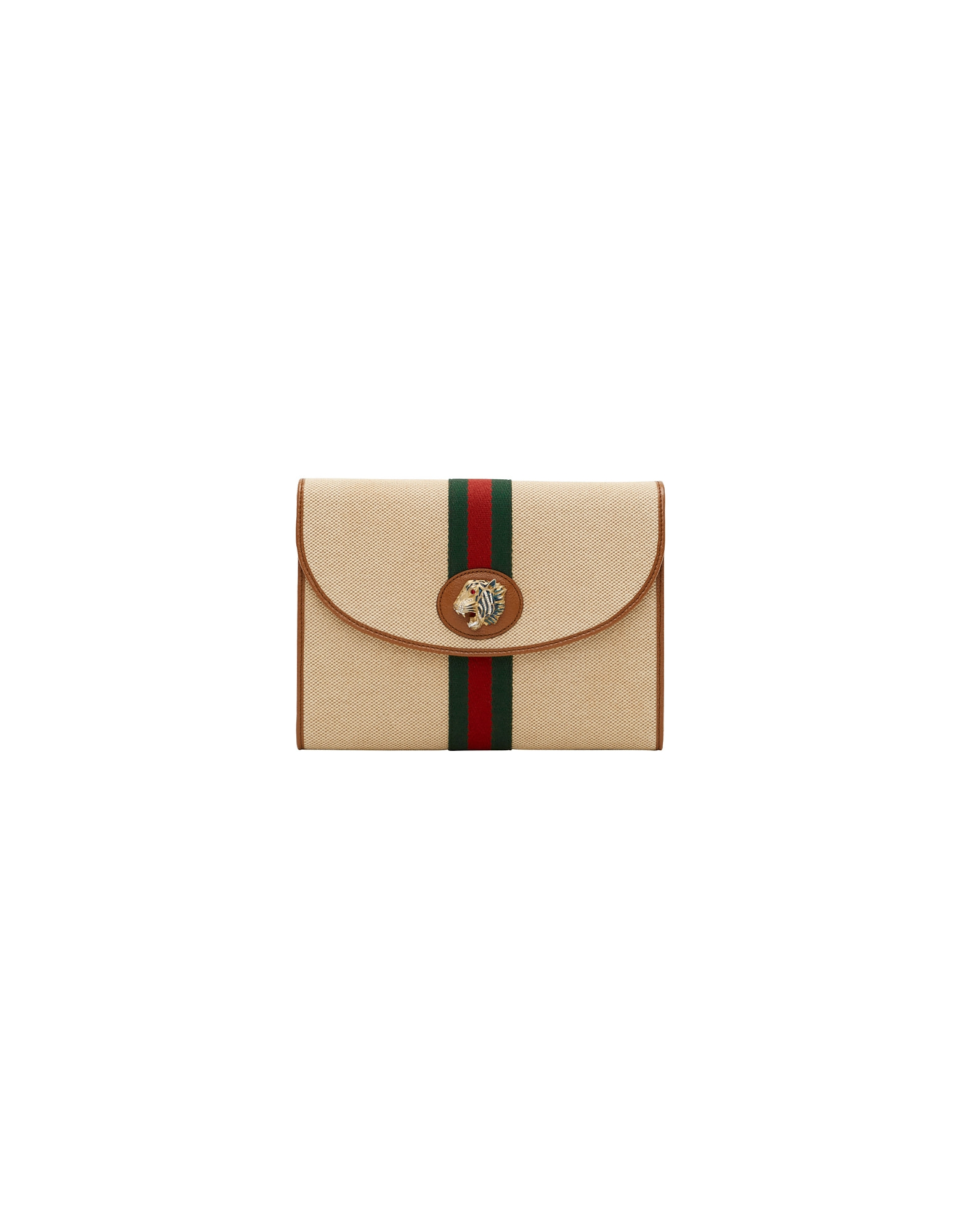 Gucci Designer Handbags, Beige Rajah Canvas Pouch
