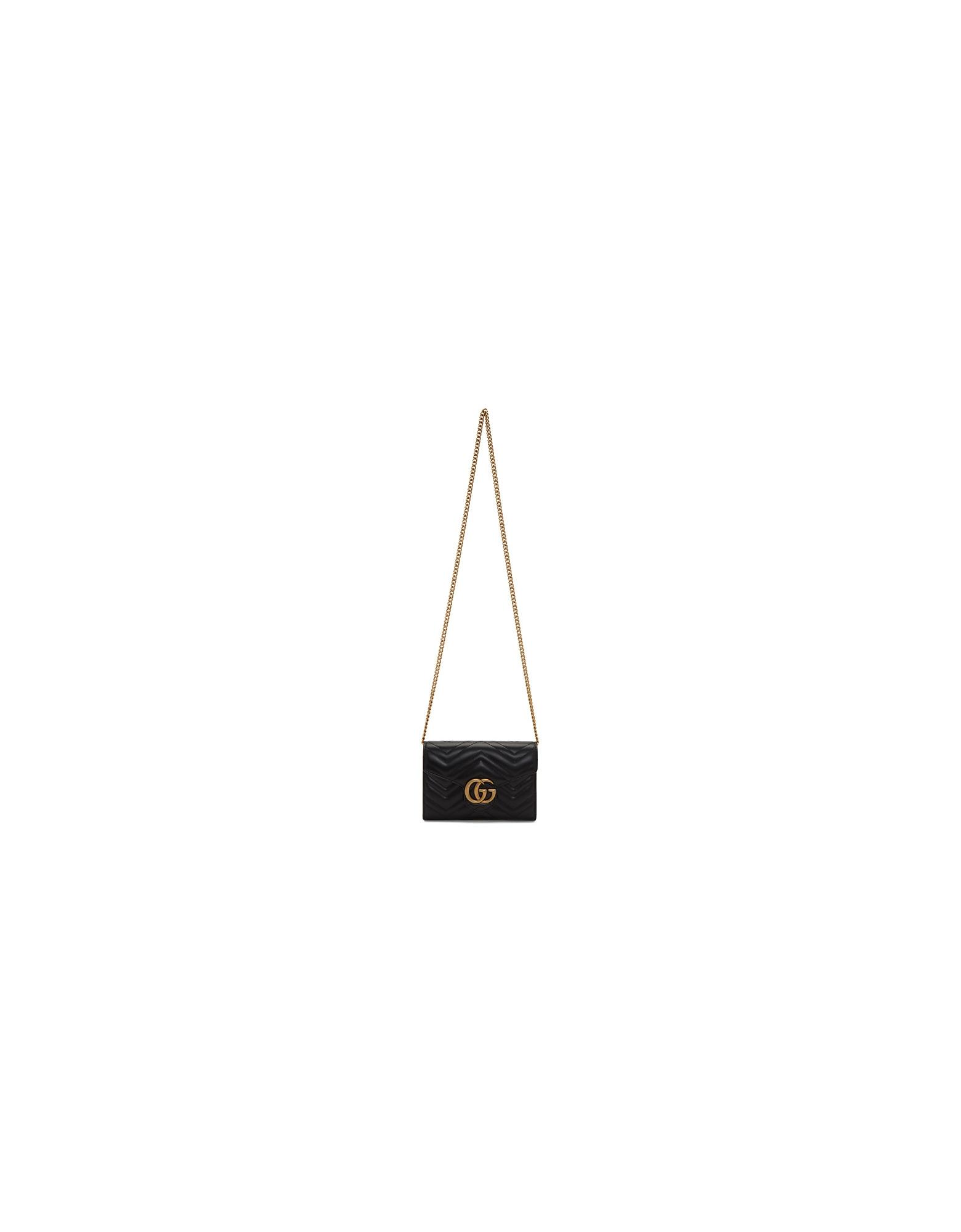 Gucci Designer Handbags, Black Mini GG Marmont Shoulder Bag